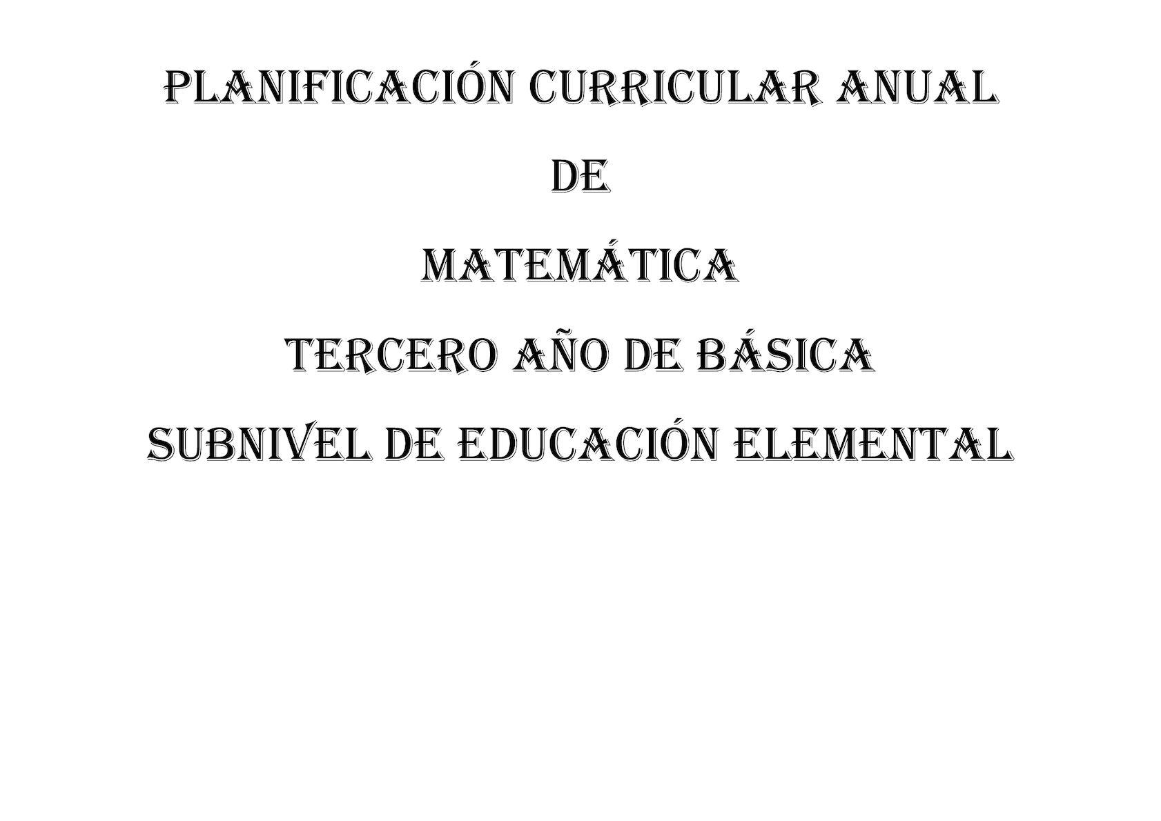 Pca Matematica Tercero