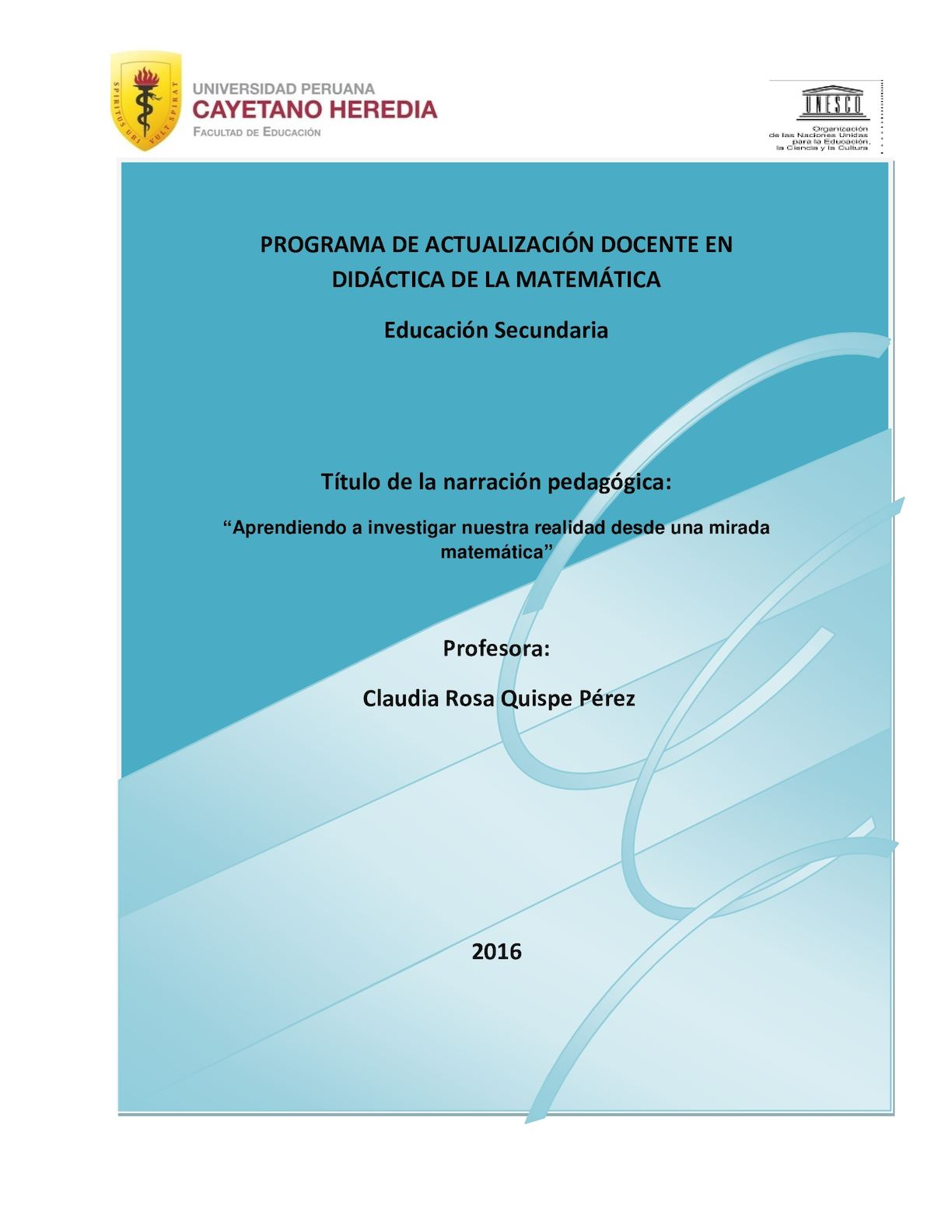 Trab Final Narración Pedagógica Quispe Pérez Claudia Rosa