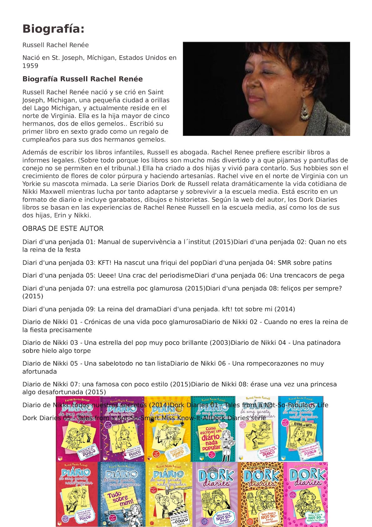 biografía de la autora Rachel Renee Russel