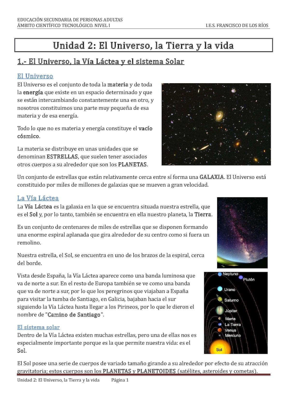 Unidad 2 El Universo, La Tierra Y La Vida