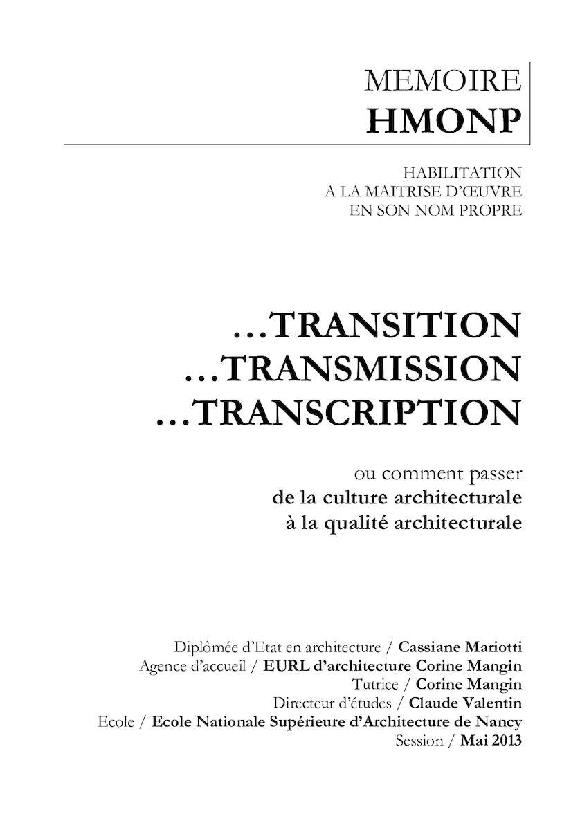 MEMOIRE HMONP : transition / transmission / transcription