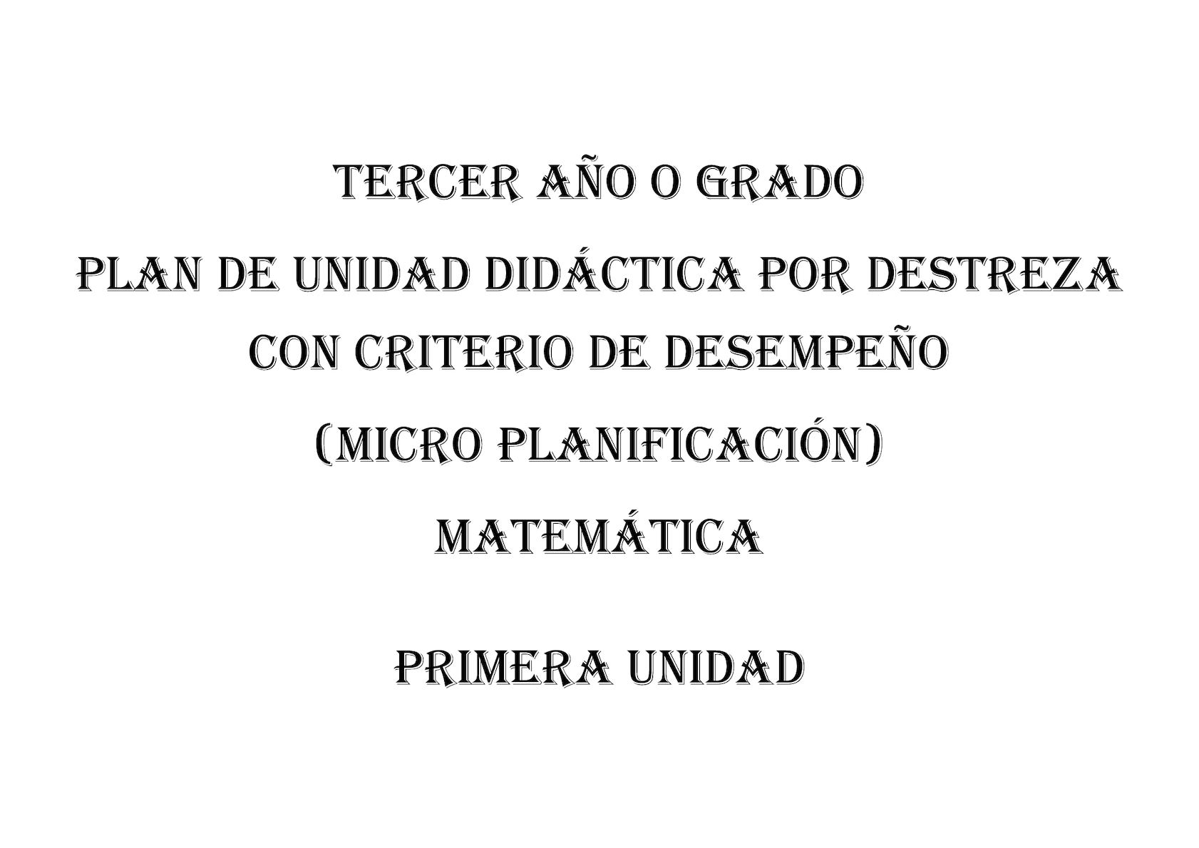 Pud Matematica Tercer Año