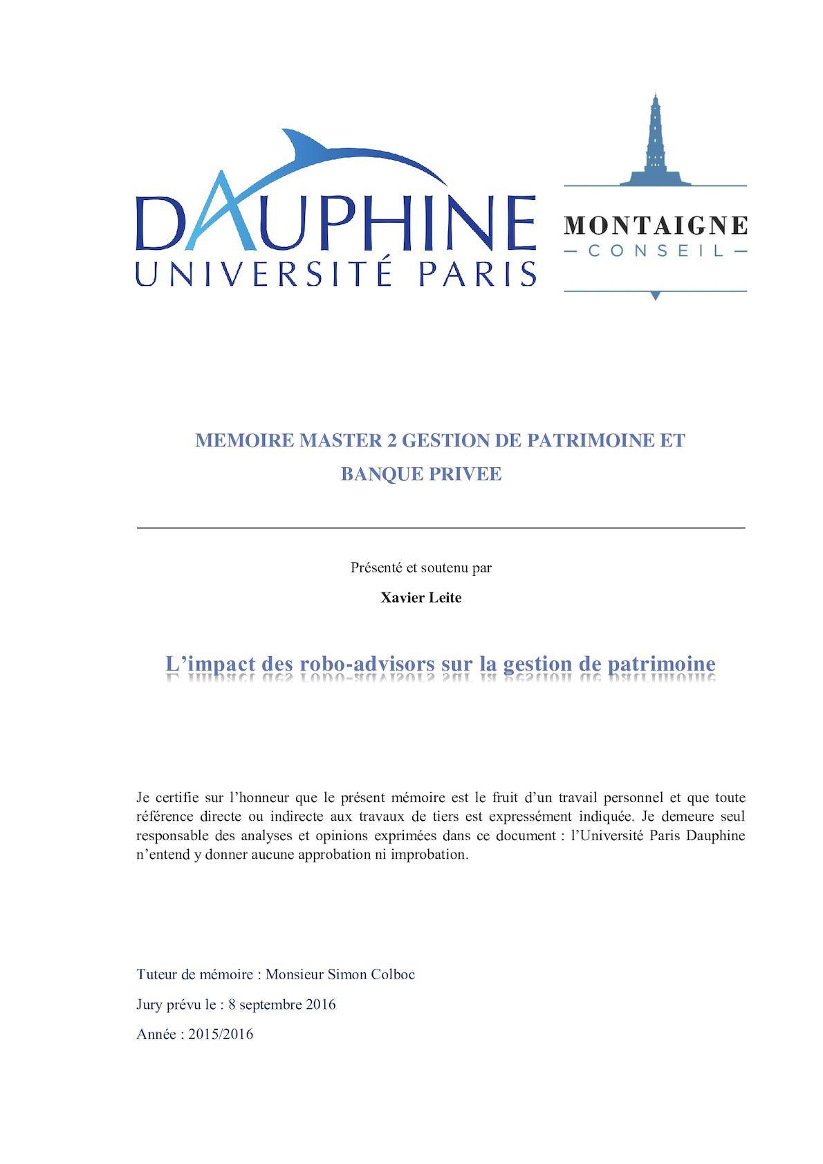 Populaire Mémoire Master 2 Gestion De Patrimoine Et Banque Privée | Xavier  JZ17