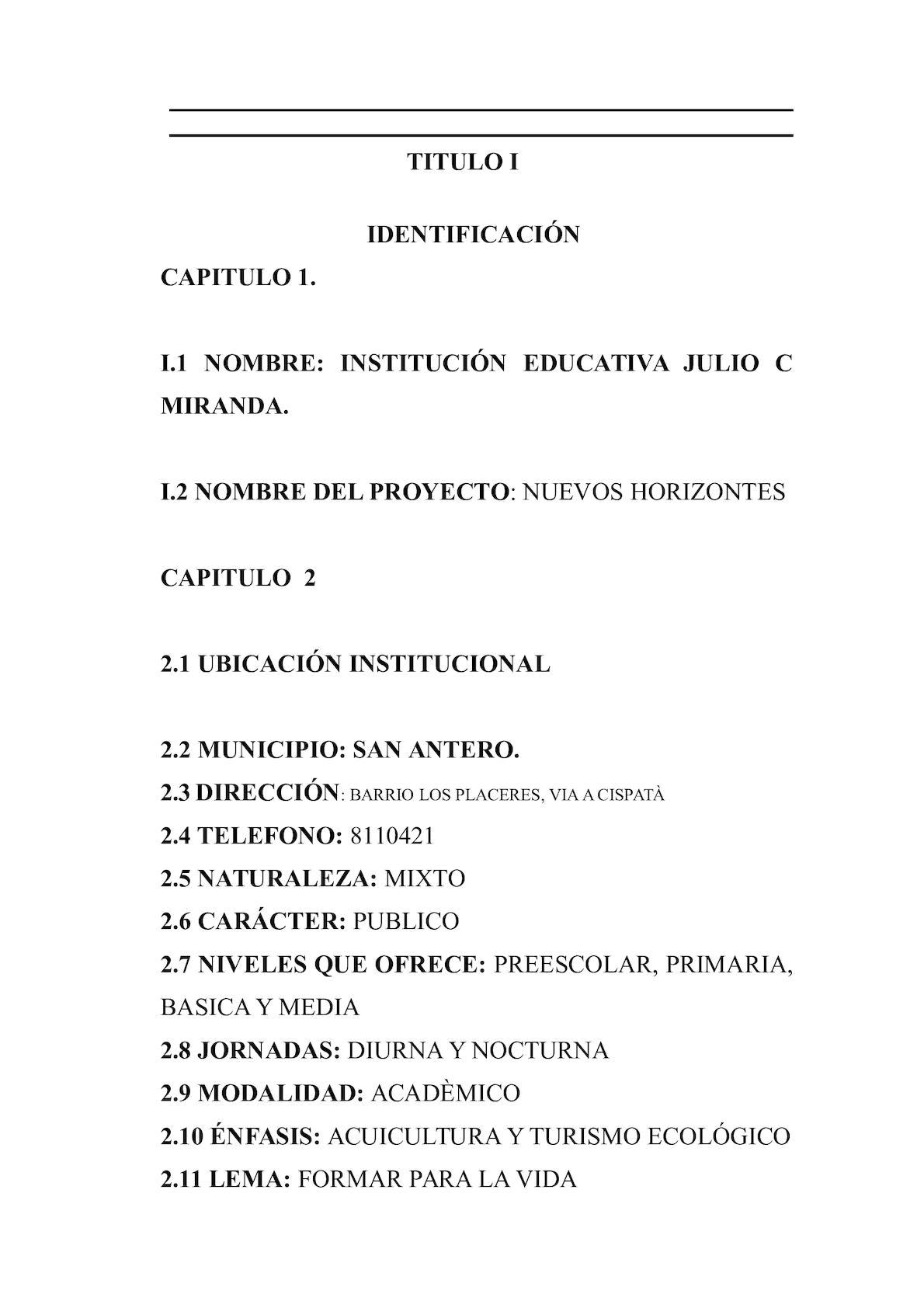 Calaméo - P E I Sin Reestructuracion I E Julio C Miranda 2009 San ...