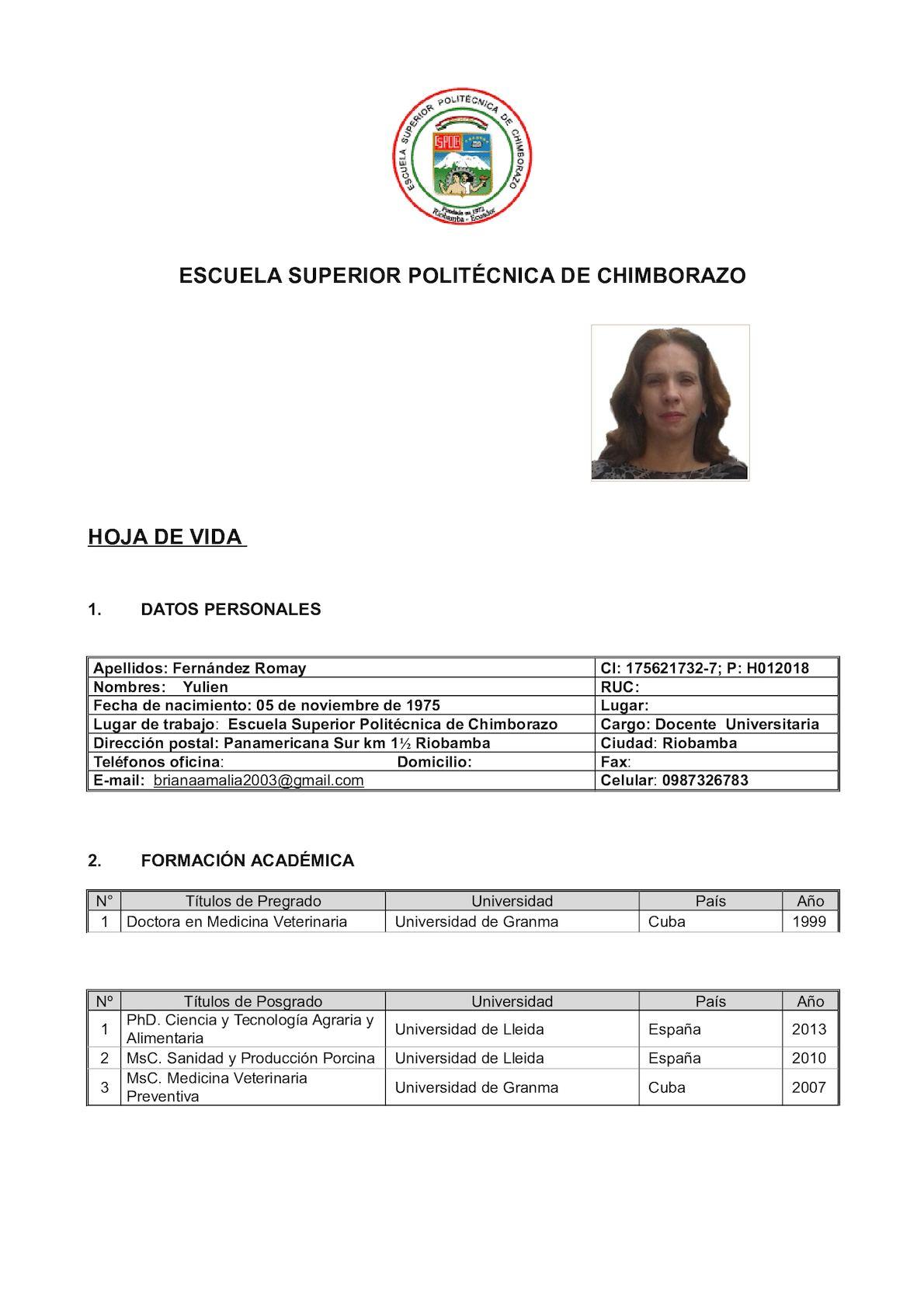 Hoja De Vida Yulien Fernández Romay