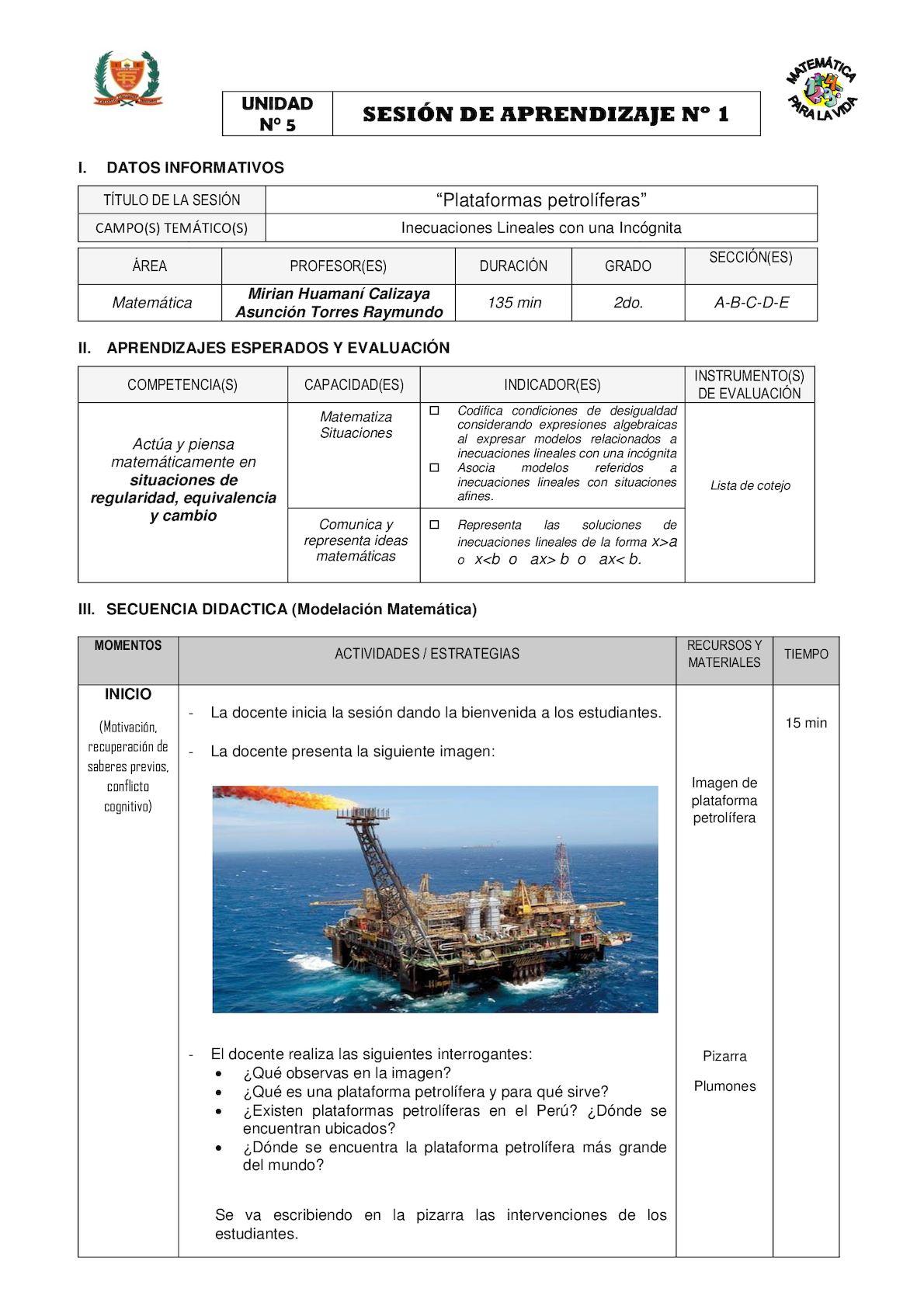 SA_2do 2016_Plataformas Petrolíferas Inecuaciones Lineales_Modelación Matemática