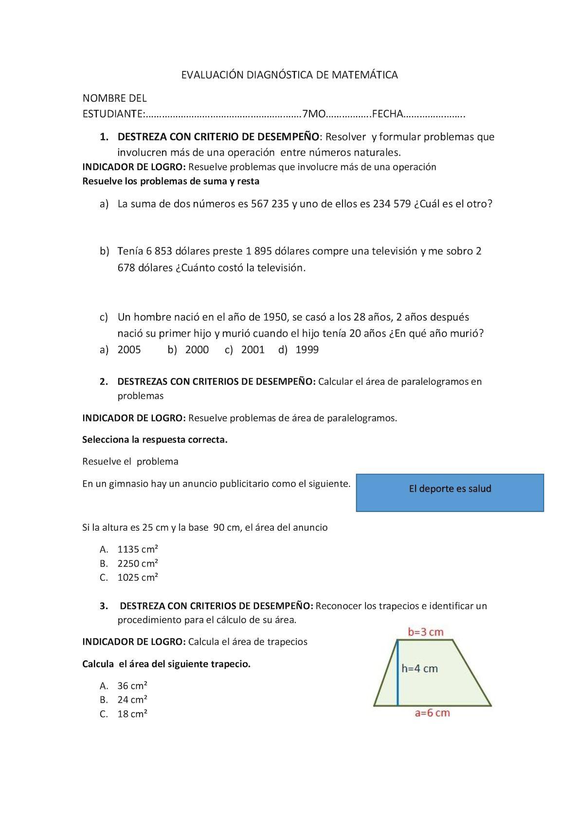 Evaluación Matemática Séptimo - CALAMEO Downloader