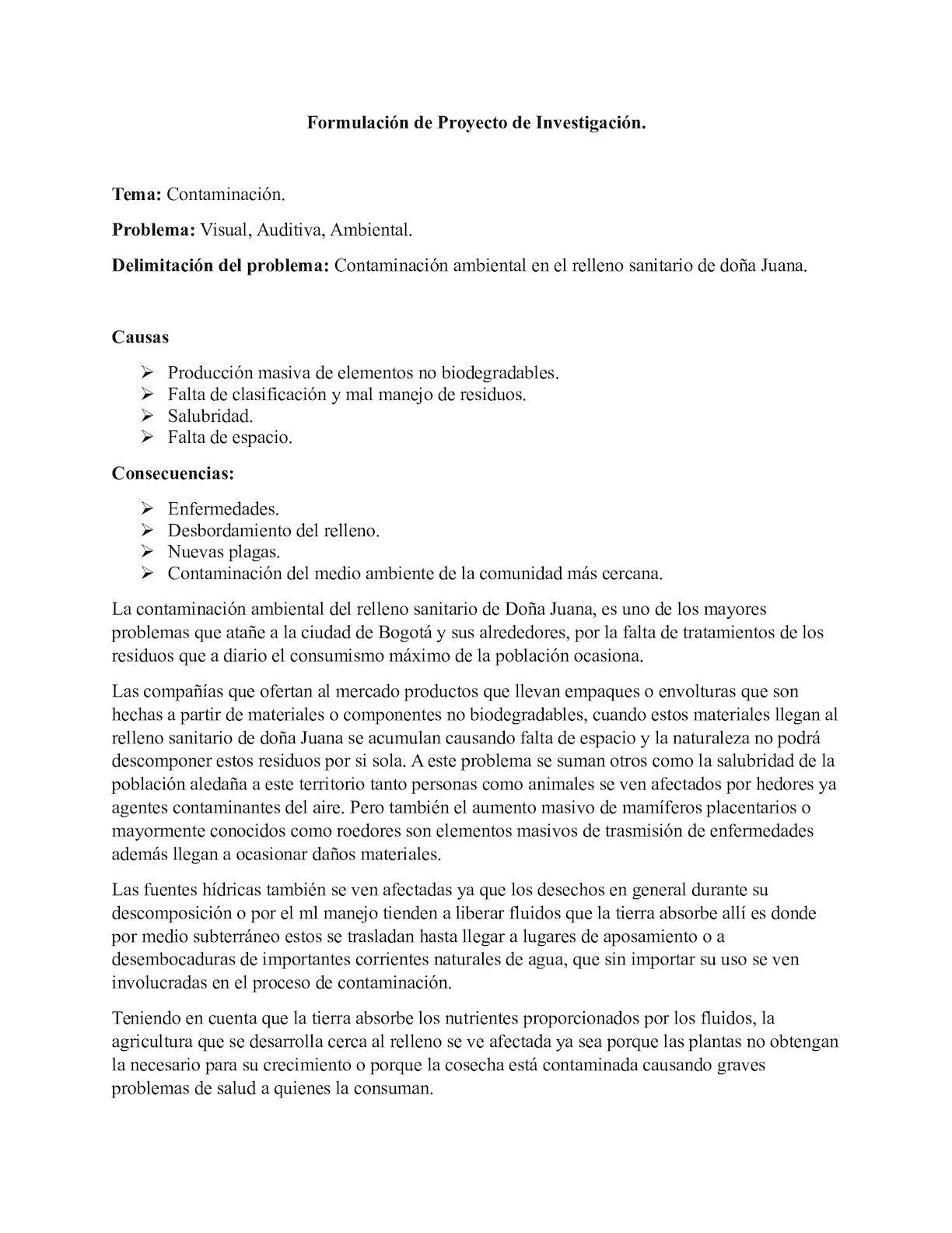 Formulación De Proyecto De Investigación (Relleno Sanitario De Doña Juana)