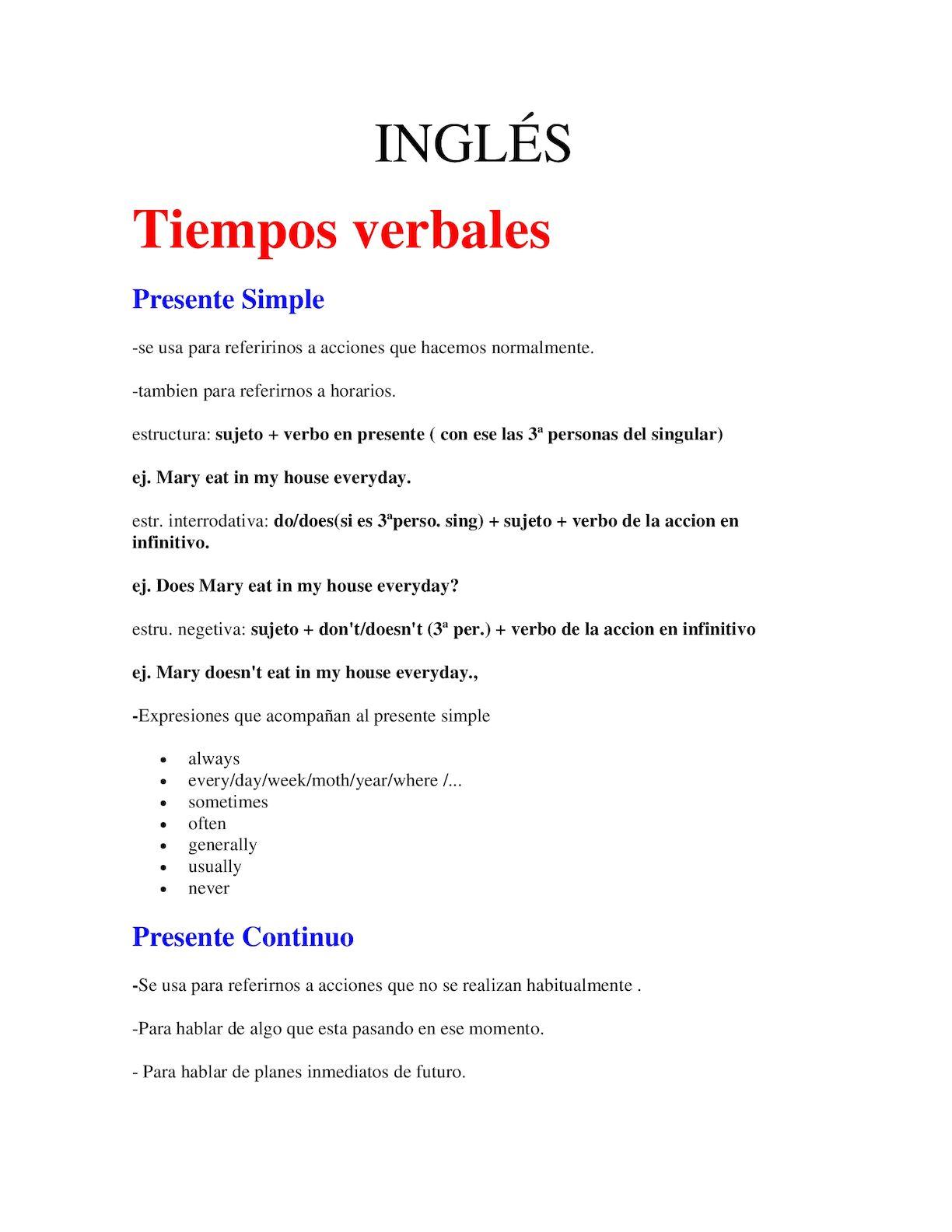 Calaméo - Los Tiempos Verbales Del Inglés
