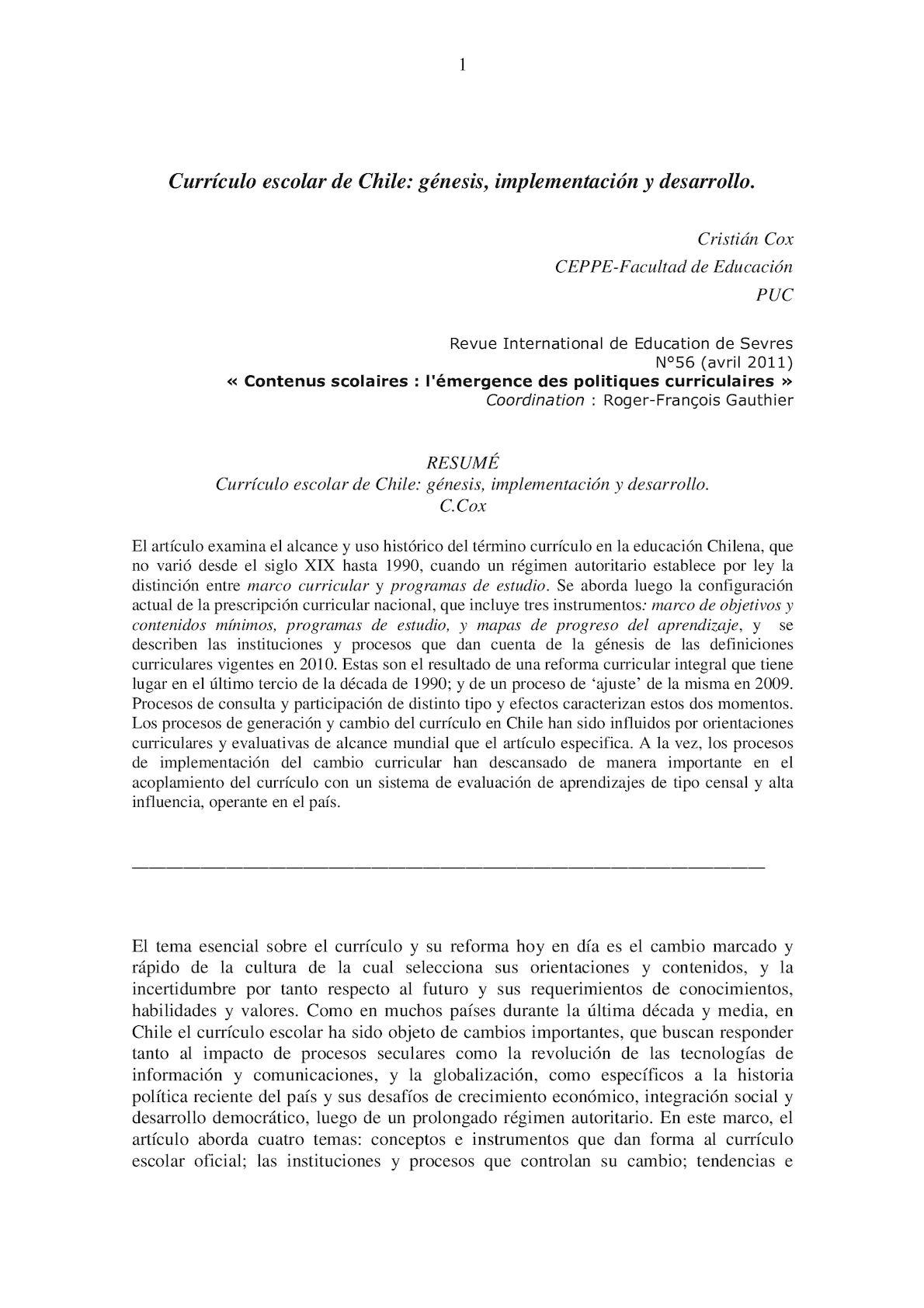 Calaméo - Curriculo Escolar De Chile Genesis Implementacion Y Desarrollo
