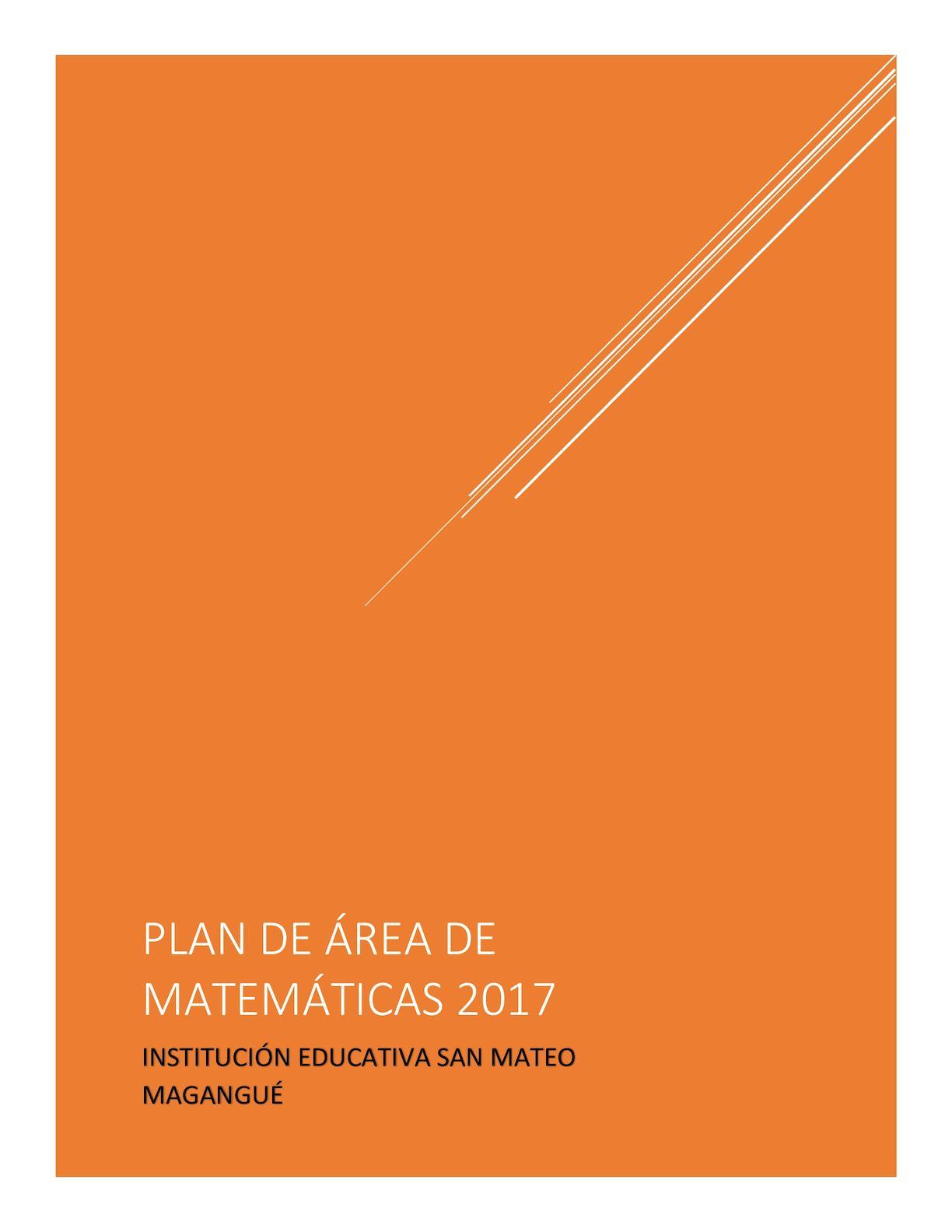 Plan De ÁRea Matemáticas 2017