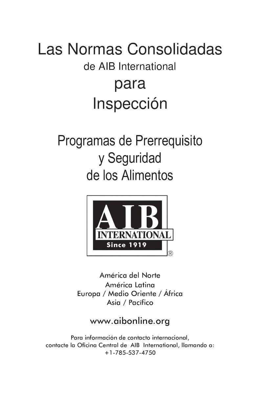 Las Normas Consolidadas De Aib International Para Inspeccion 2016