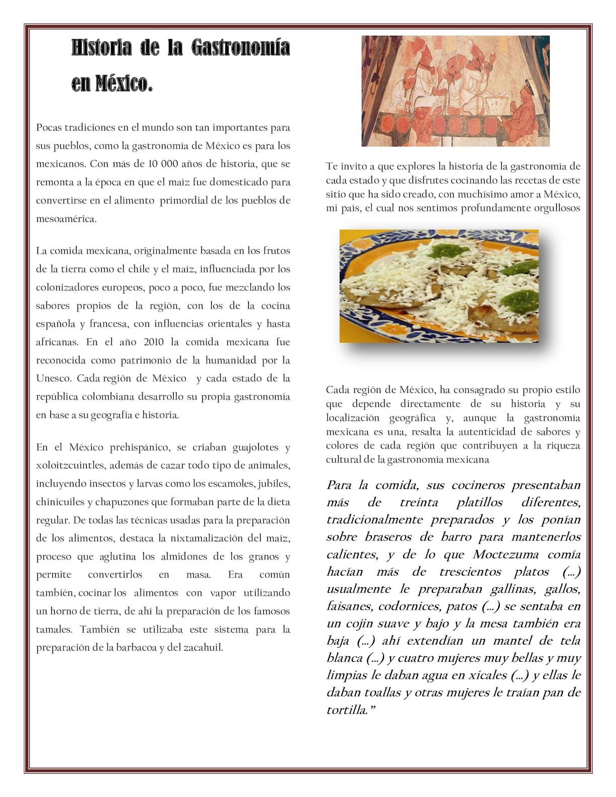 Calam o historia de la gastronom a en m xico for Caracteristicas de la gastronomia francesa