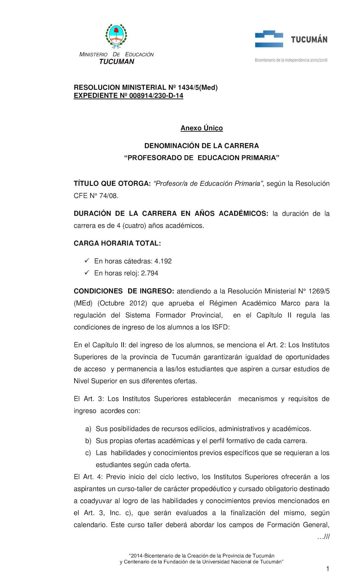 Calaméo - Resolución Nº 1434/5 (MEd) Profesorado de Educación Primaria
