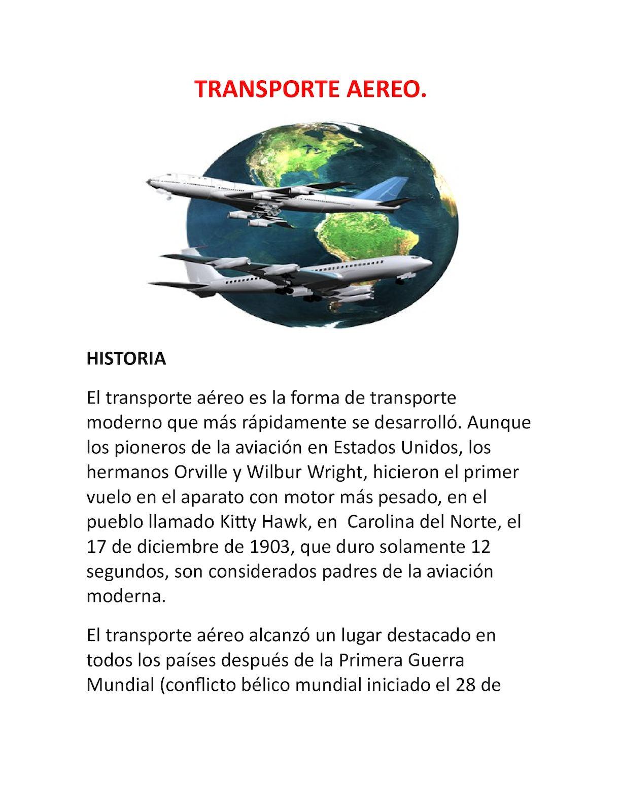 TRANSPORTE AÉREO, HISTORIA Y DEFINICION