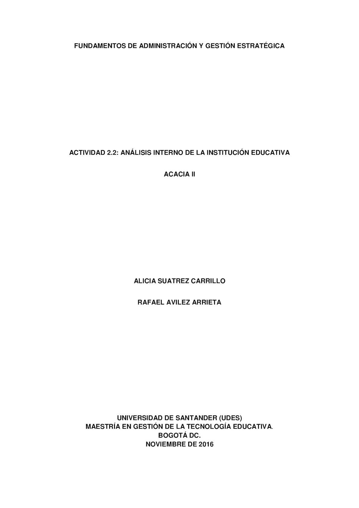 Actividad 2 2 Análisis Interno De La Institución Educativa