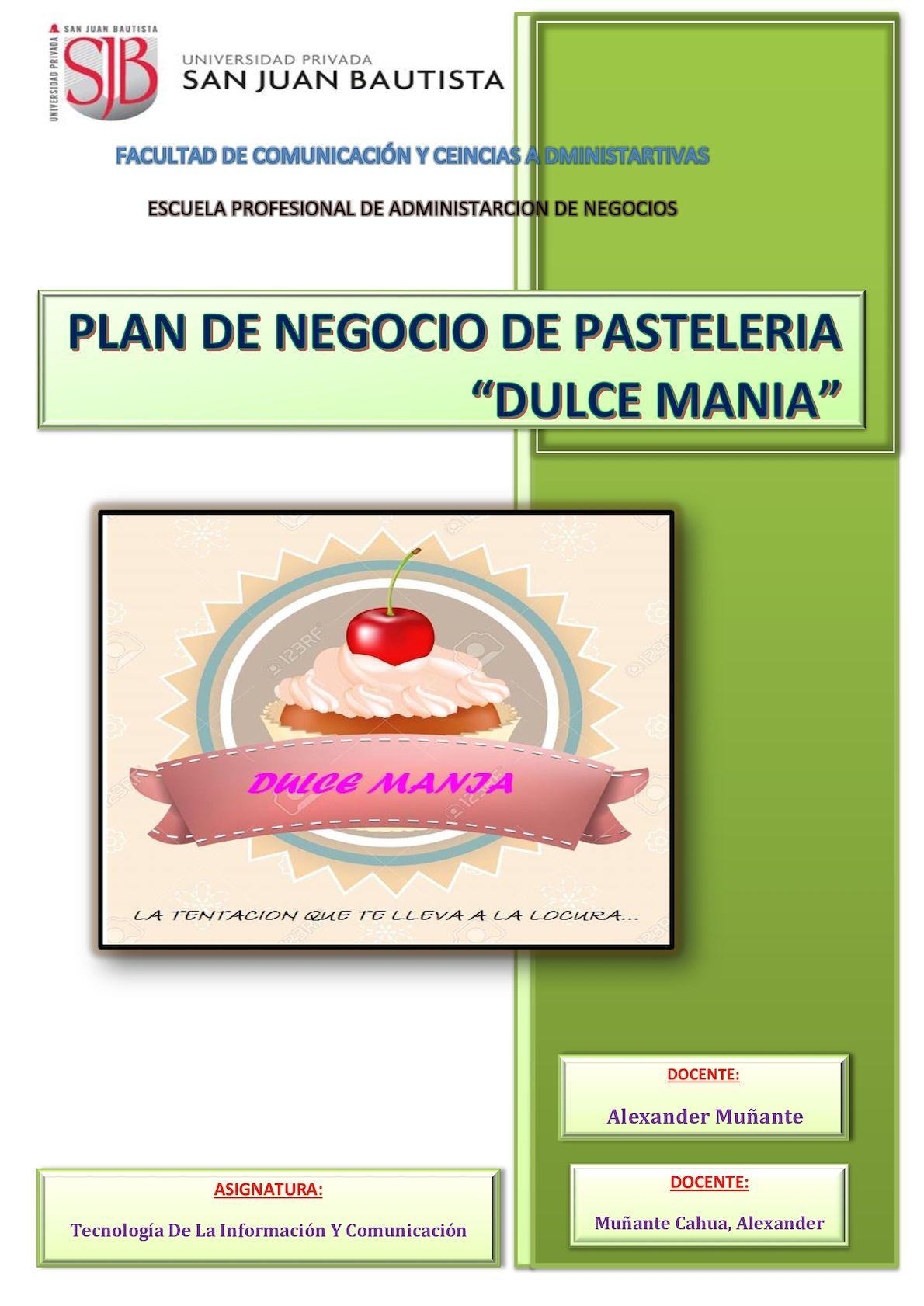 Calam o dulce mania for Plan de negocios ejemplo pdf