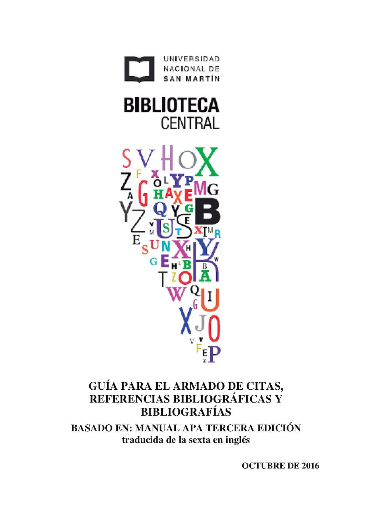Guía Para El Armado De Citas, Referencias Bibliográficas Y Bibliografías