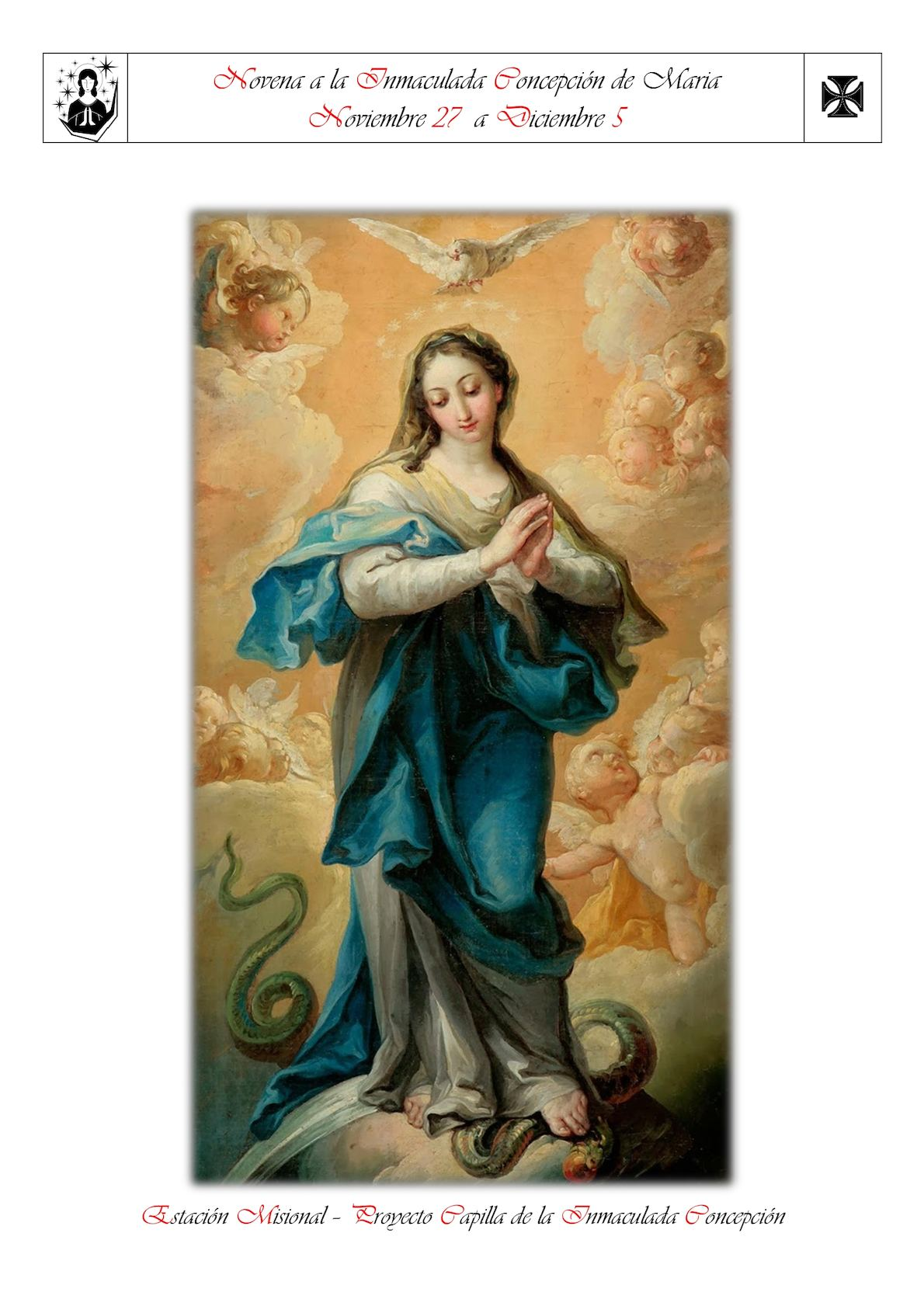 Novena A La Inmaculada Concepcion De La Bienaventurada Virgen Maria