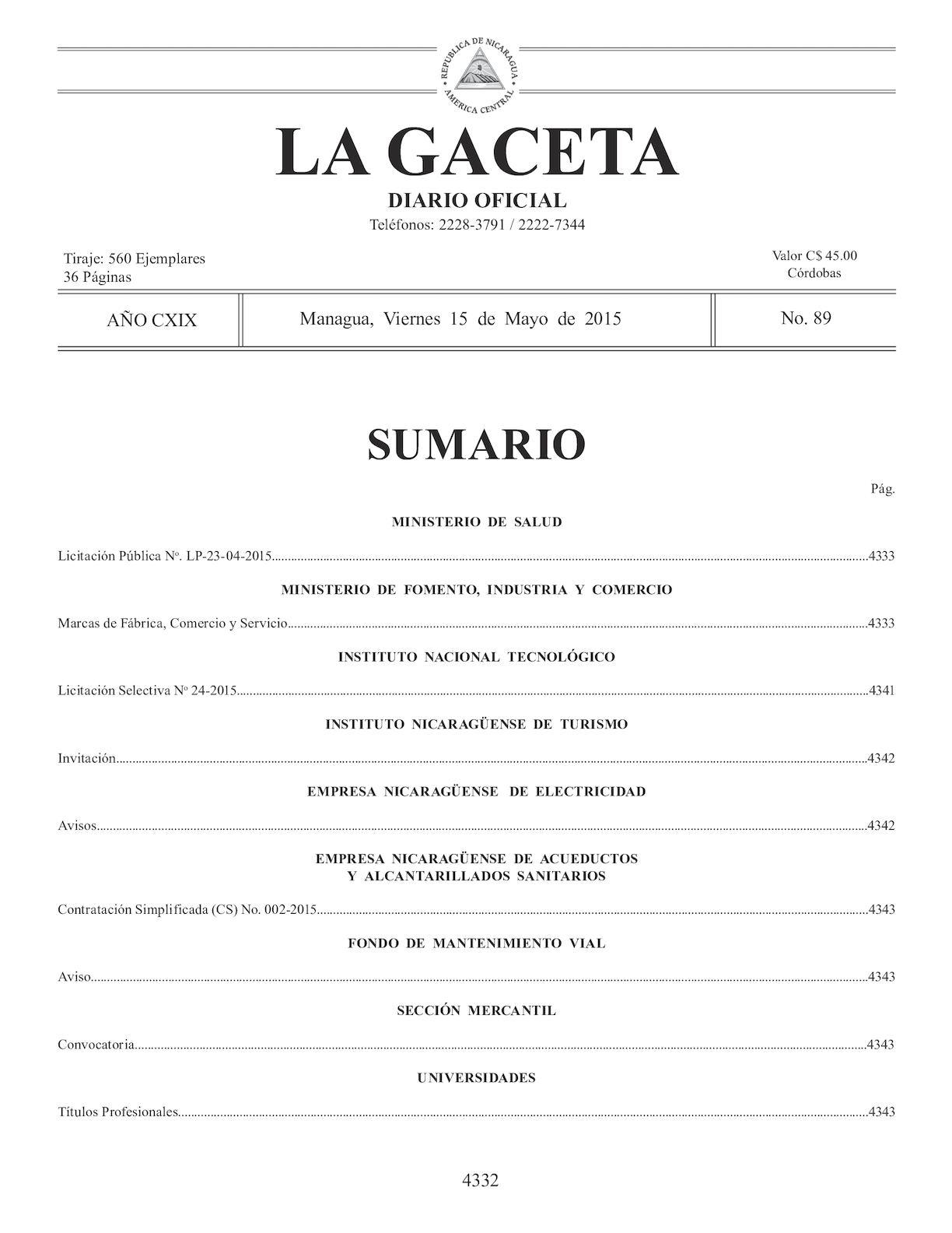 Gaceta No 89 Viernes 15 Mayo 2015