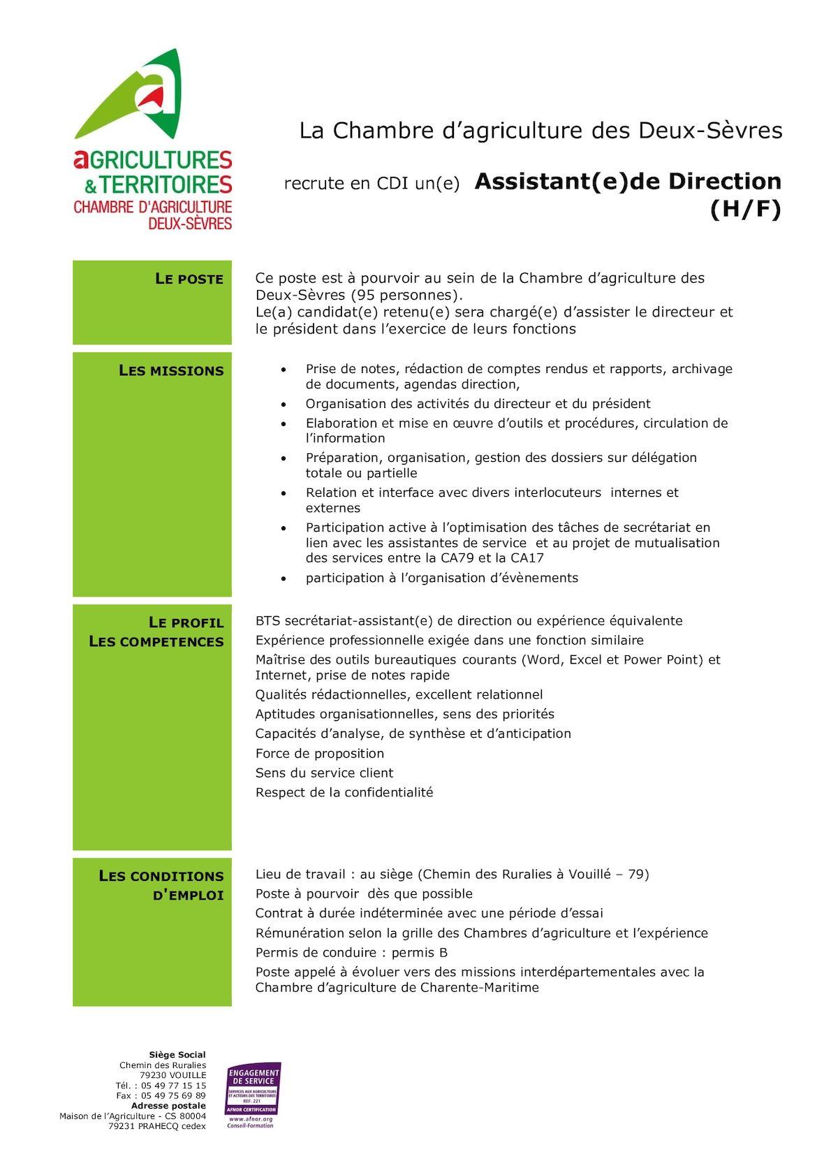 Calam o icssa offre d 39 emploi assistante de direction - Grille salaire assistante de direction ...