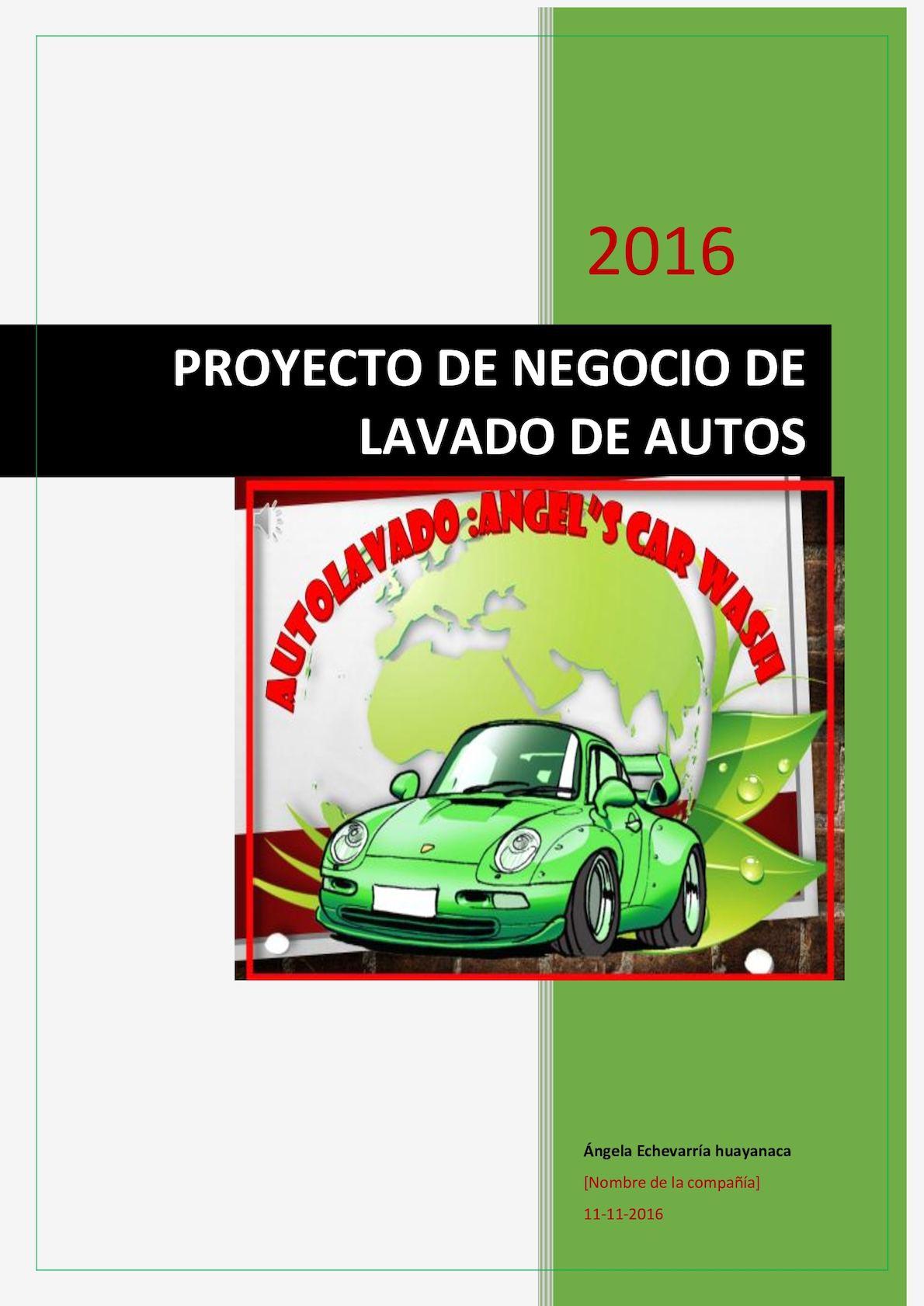 Proyecto De Negocio De Lavado De Autos Pra Computo