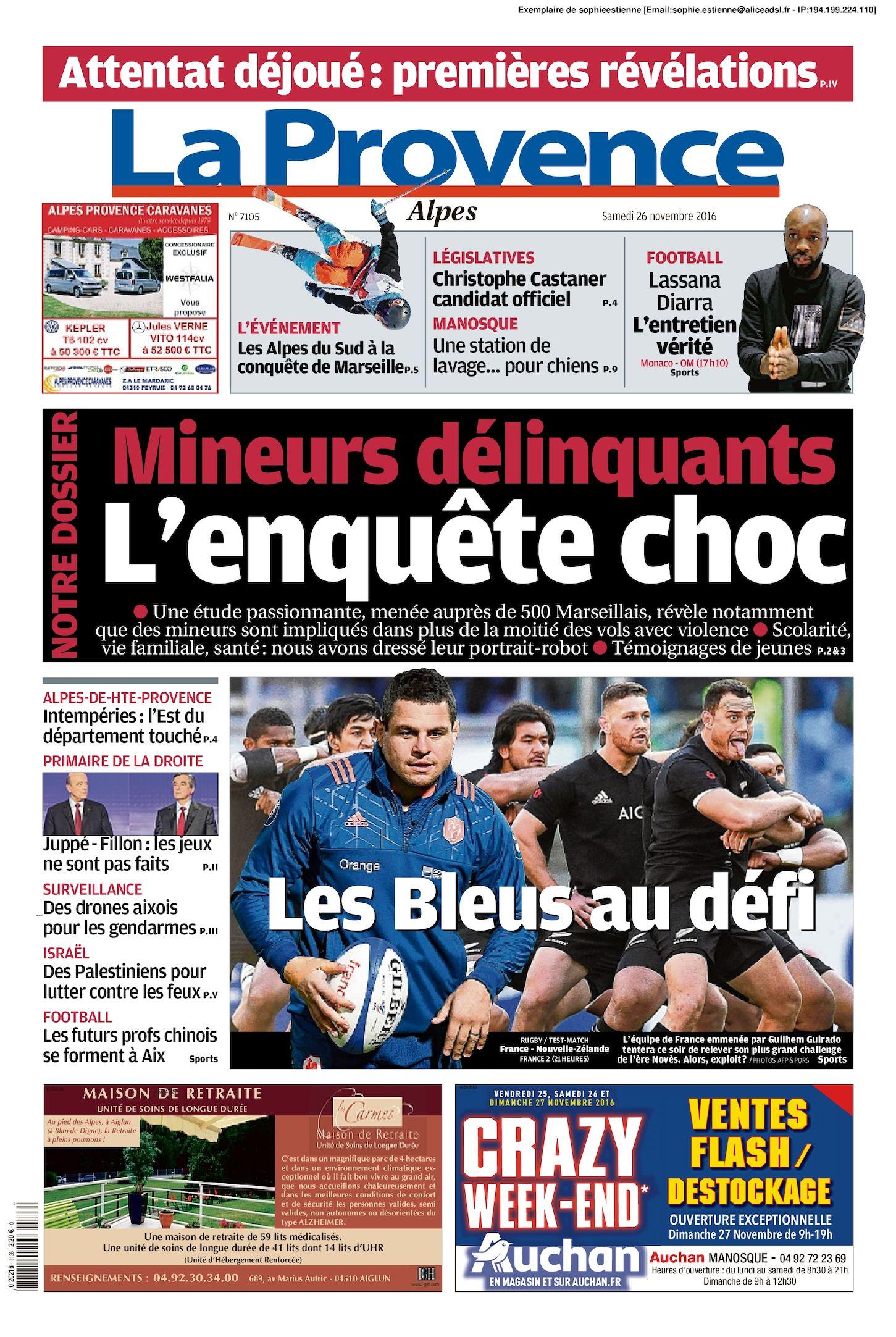 La Provence Edition Alpes Du 2016 11 26