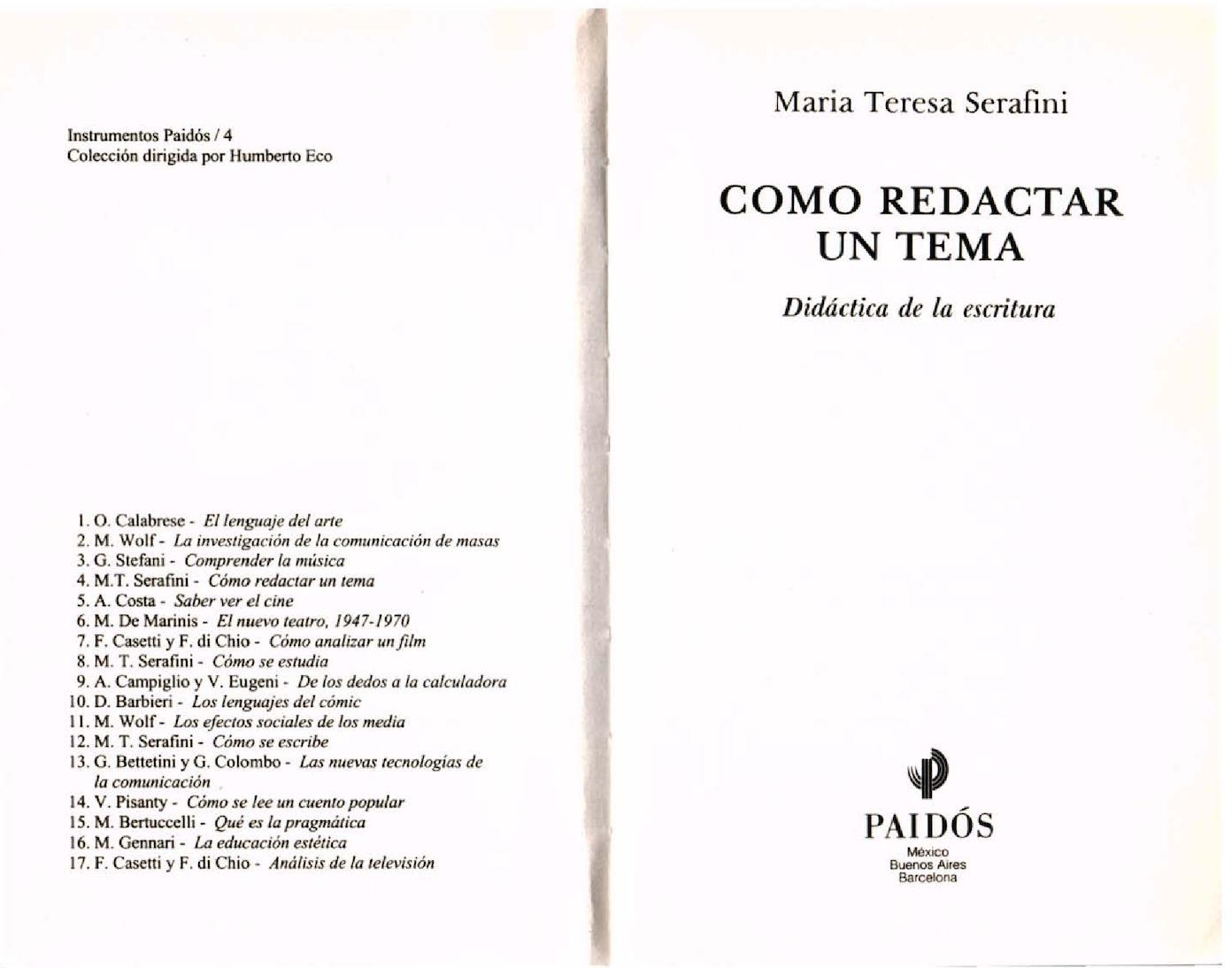 Calaméo - Cómo Redactar Un Tema Didáctica De La Escritura Serafini