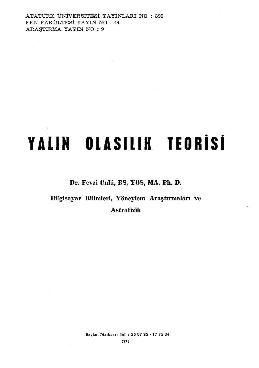 Yalın Olasılık Teorisi - Prof. Dr. Fevzi Ünlü