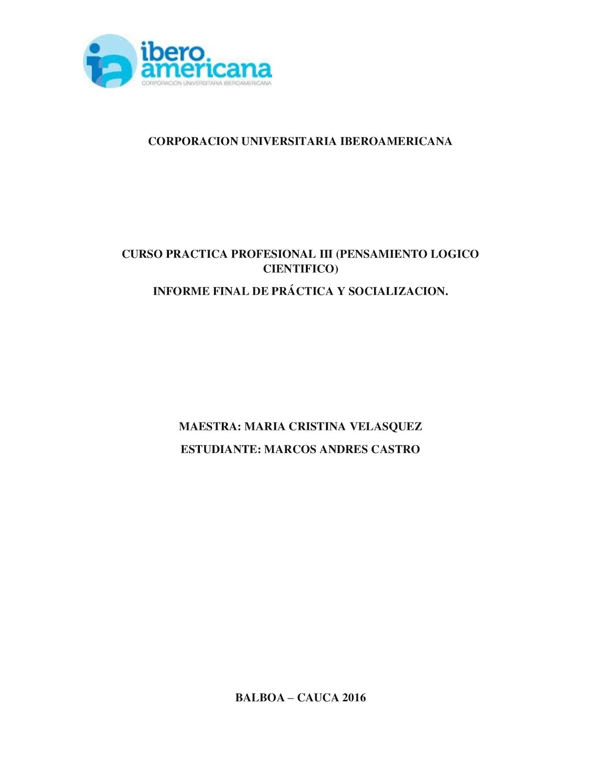 Informe Practica Pedagogica Andres Castro