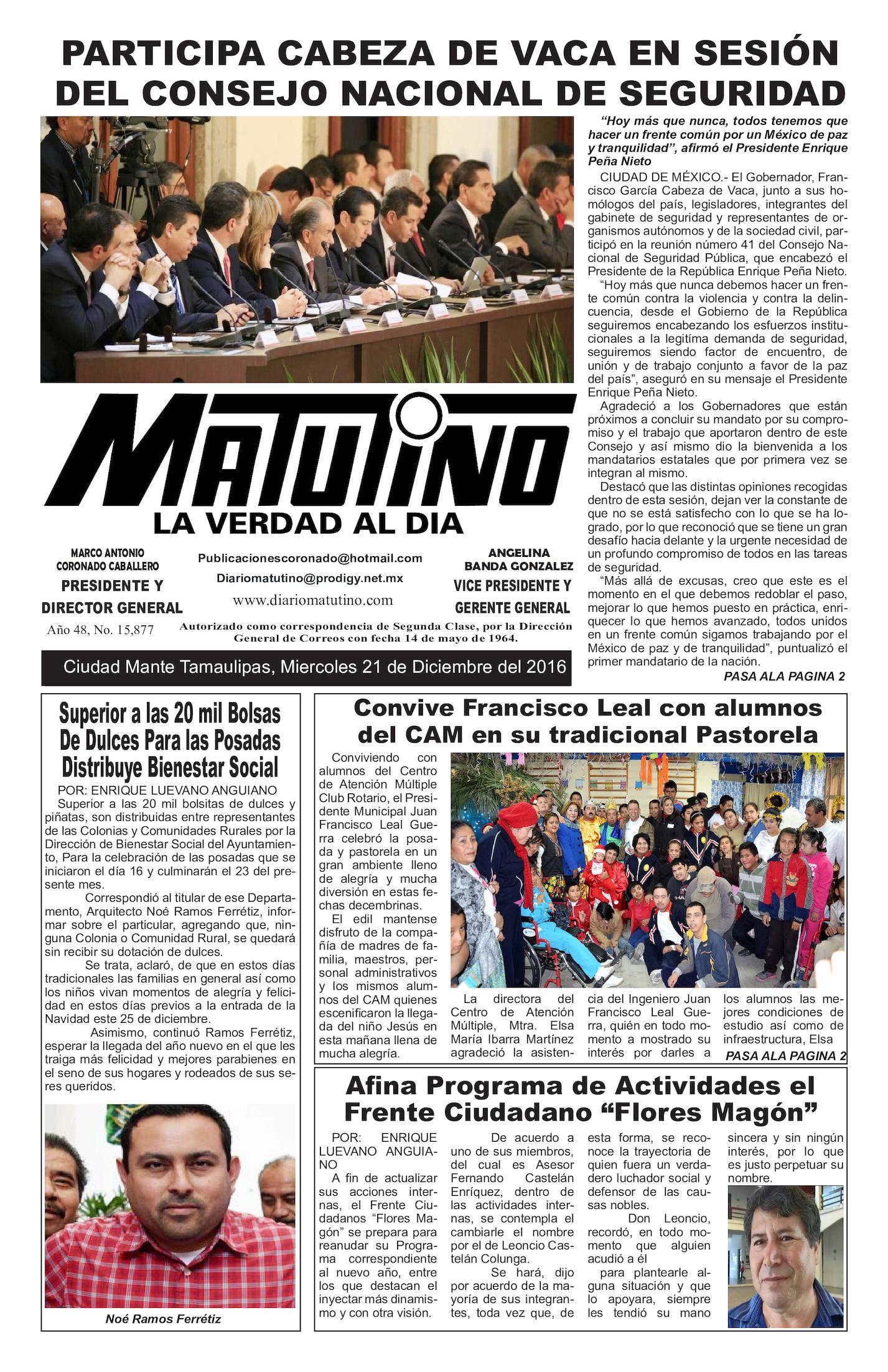 Calaméo - Matutino Miercoles 21 De Diciembre Del 2016