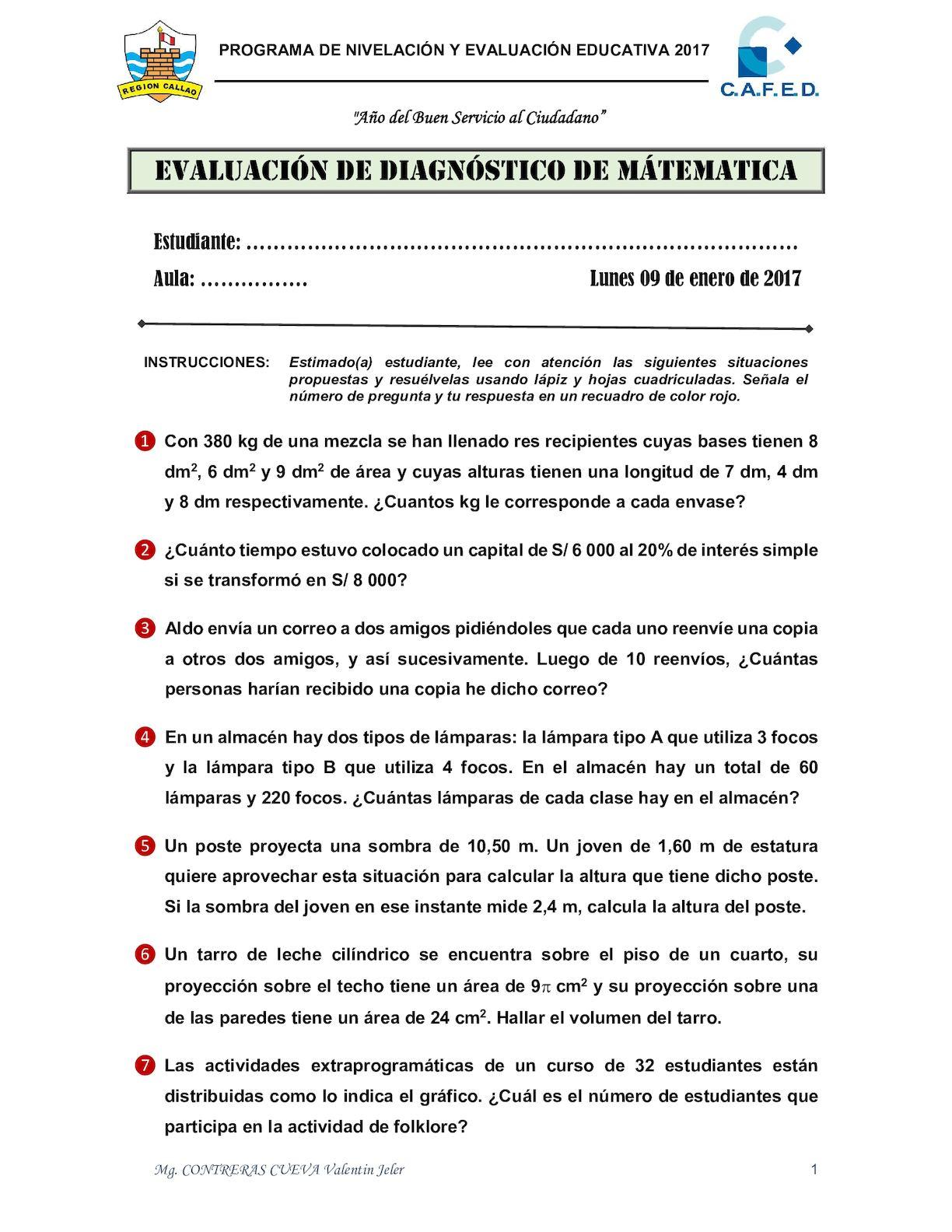 Evaluación Diagnóstica Matemática Pnee