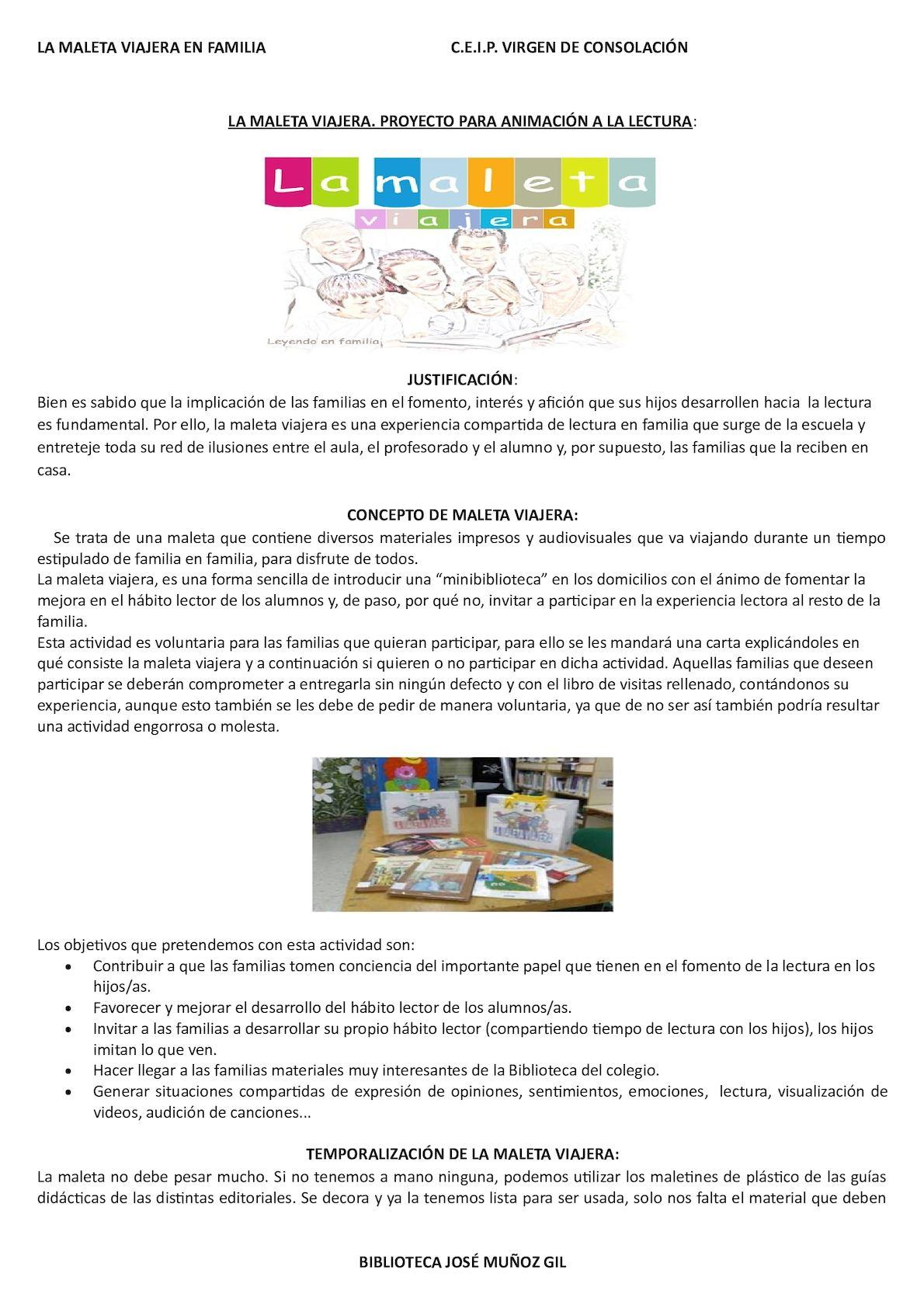 Proyecto Maleta Viajera Biblioteca Ceip Virgen De Consolación