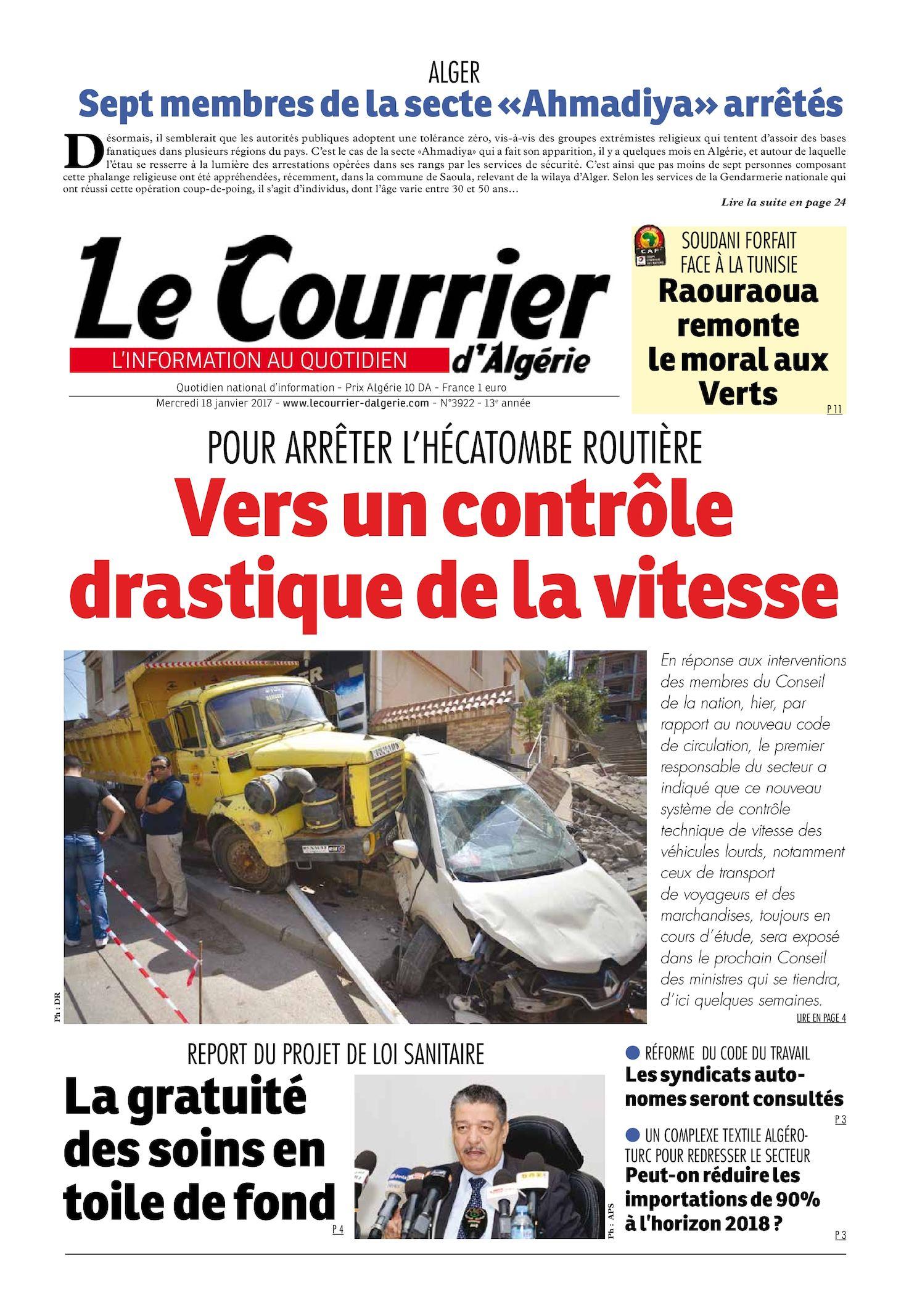 Le Courrier D'Algérie Du Mercredi 18 Janvier 2017