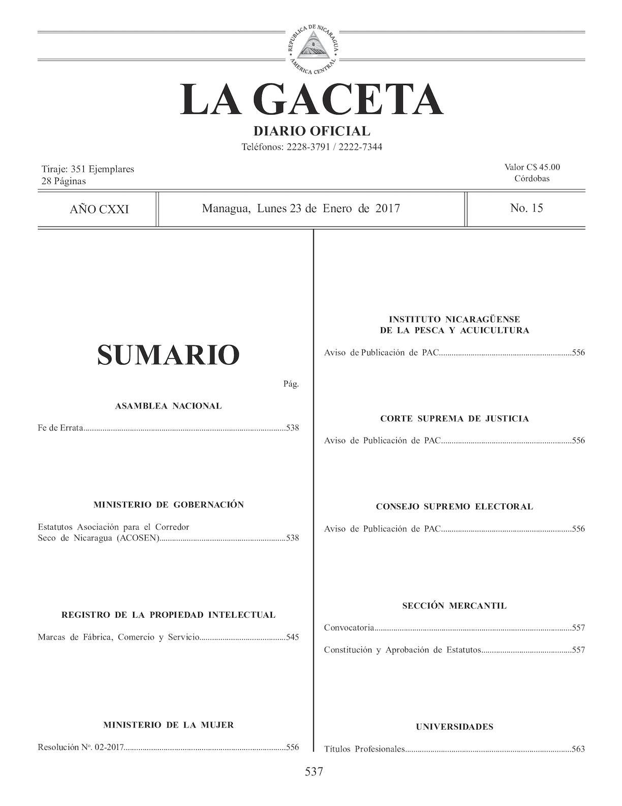 Calaméo - Gaceta No 15 Lunes 23 De Enero De 2017