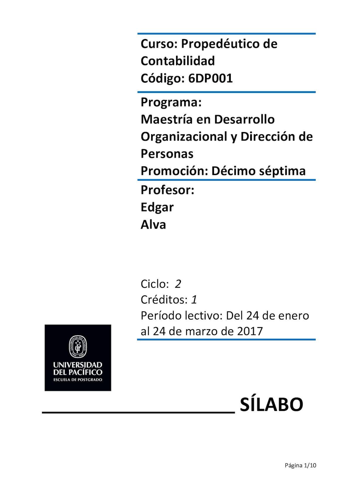 Sílabo Propedéutico de Contabilidad [MDO17]