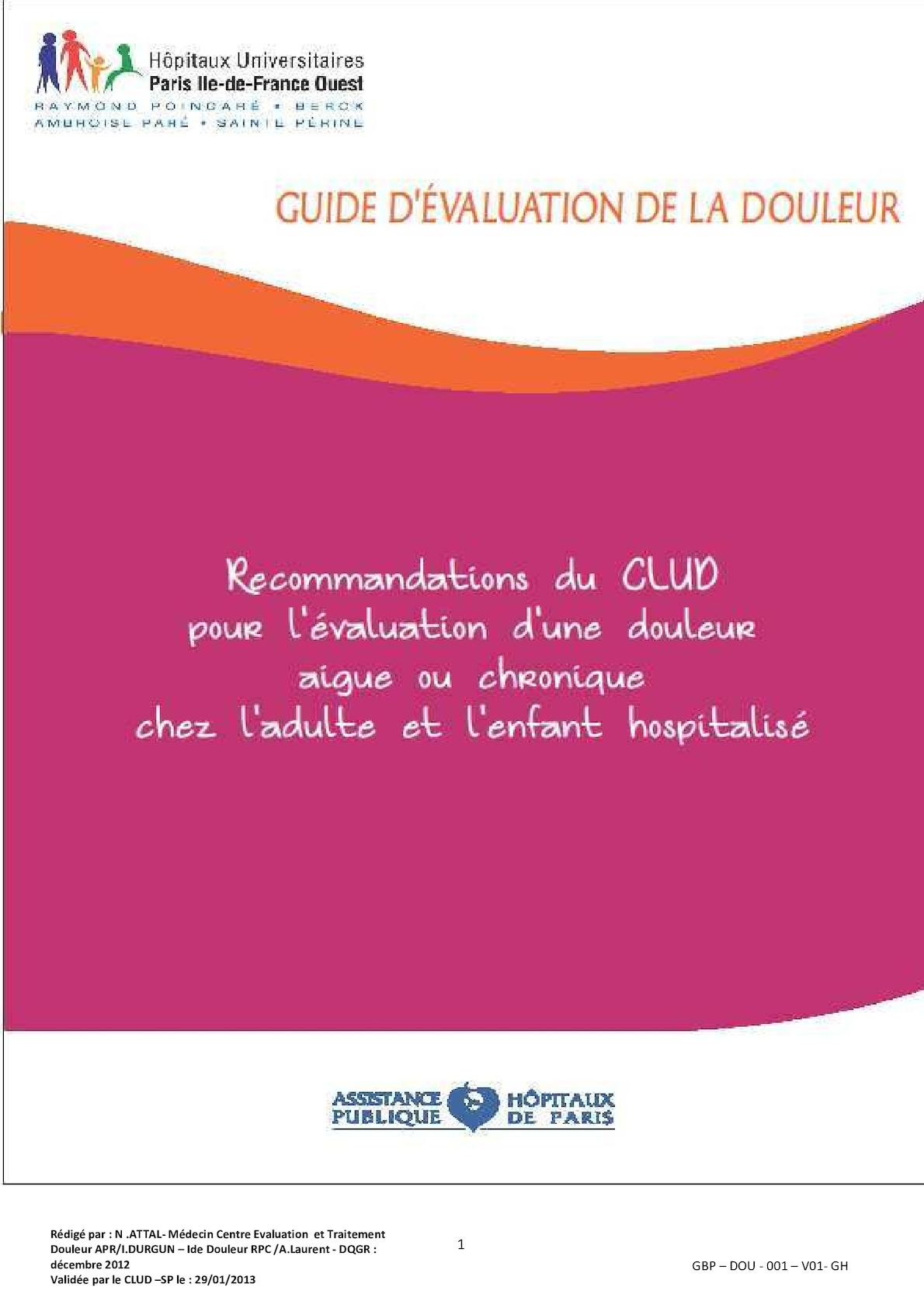 Guide Evaluation De La Douleur Gh Janvier 2013 Verrou