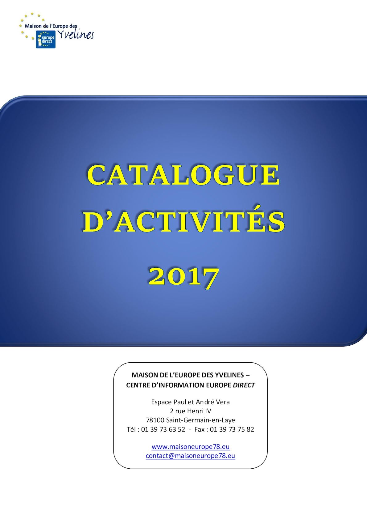Calam o catalogue d 39 activit mdey cied 2017 for Activite yvelines