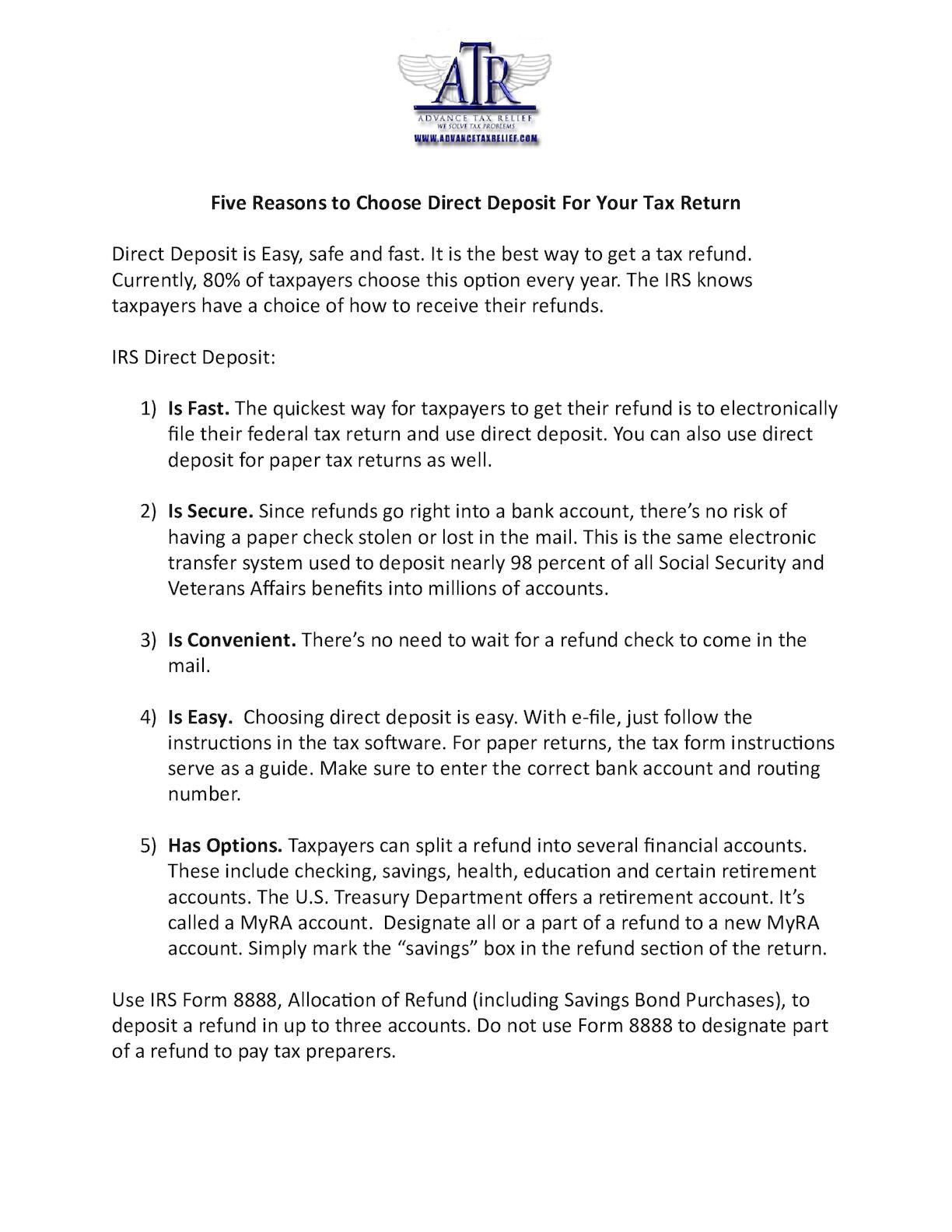 Calaméo - FIVE REASONS TO CHOOSE DIRECT DEPOSIT