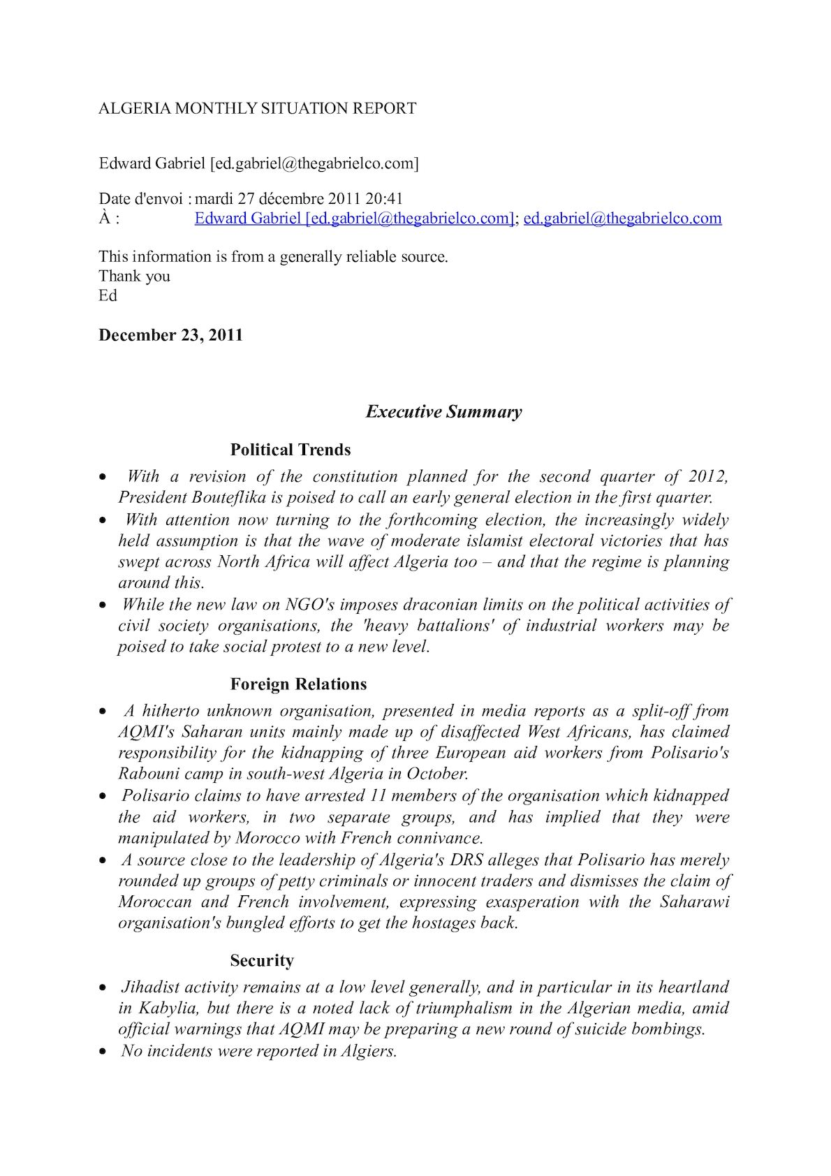 ALGERIA MONTHLY SITUATION REPORT