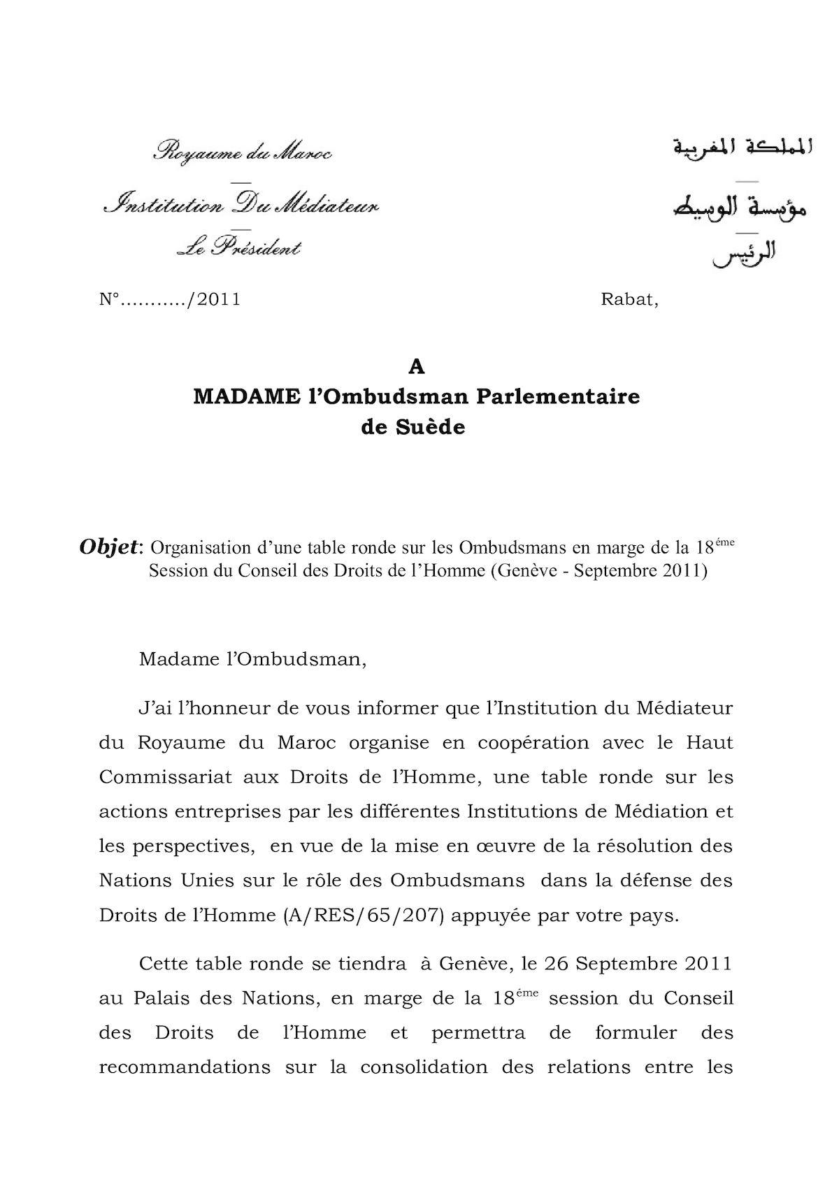 Invitation Ombudsman Suédois