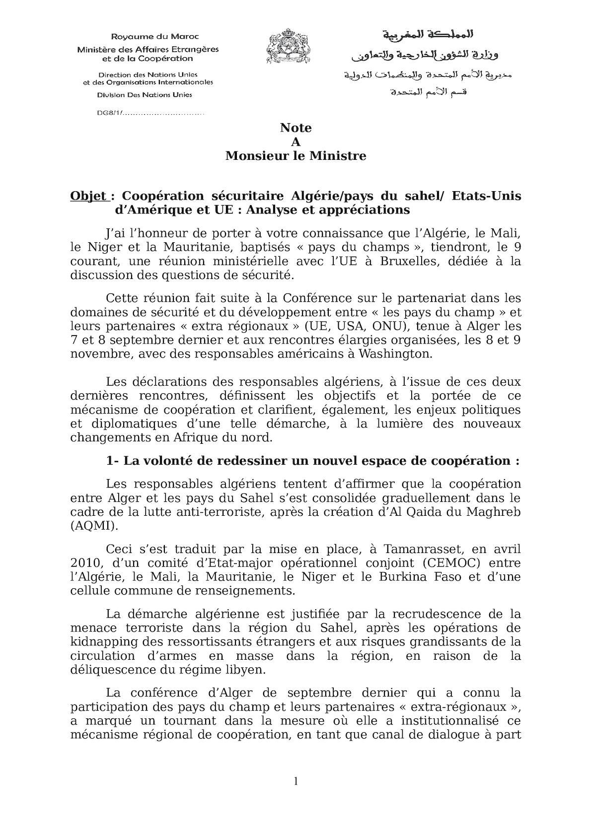 Les Pays Du Champ Et L'Algérie Note Au Ministre(1).