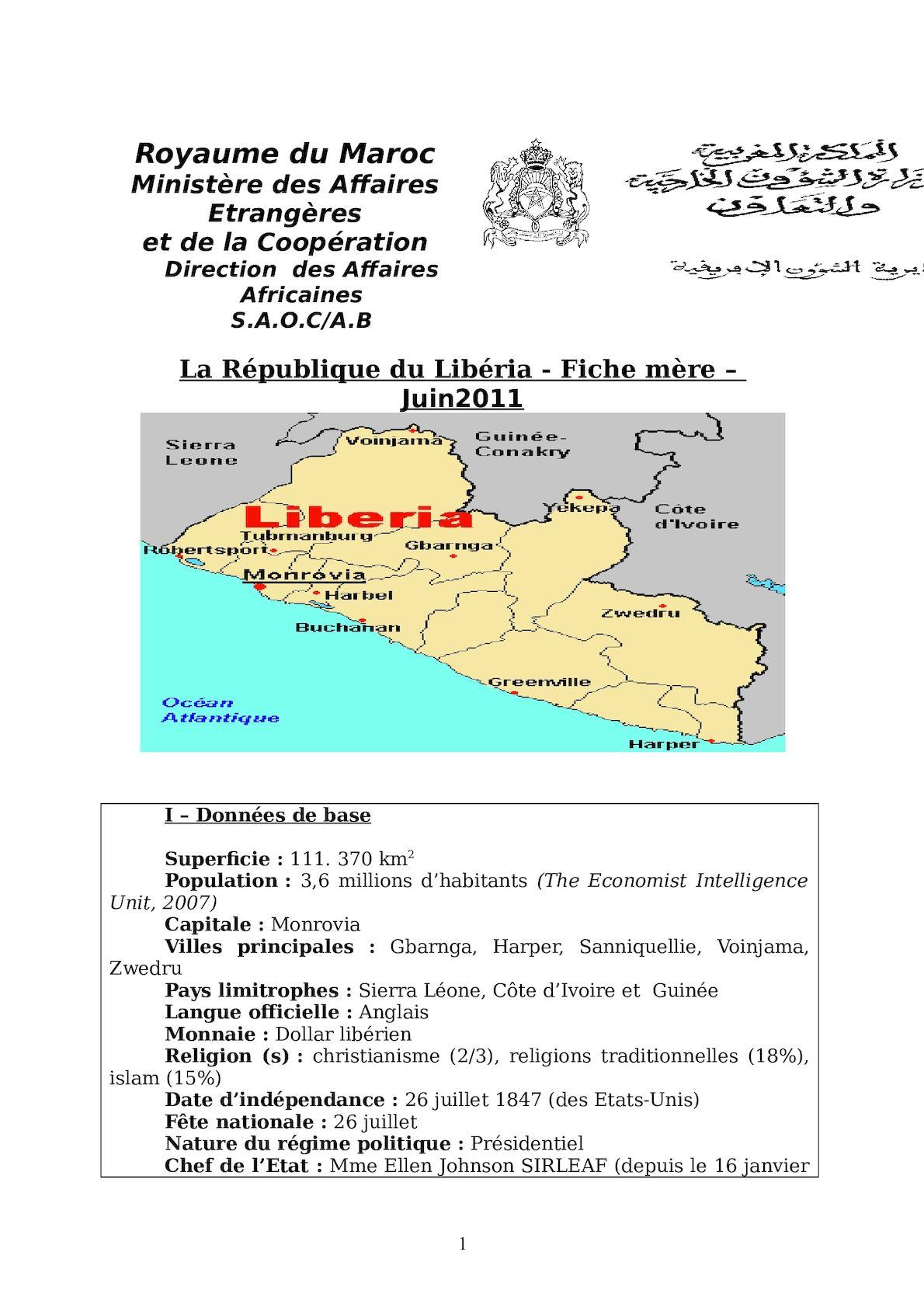 LIBERIA - Fiche Mère -.