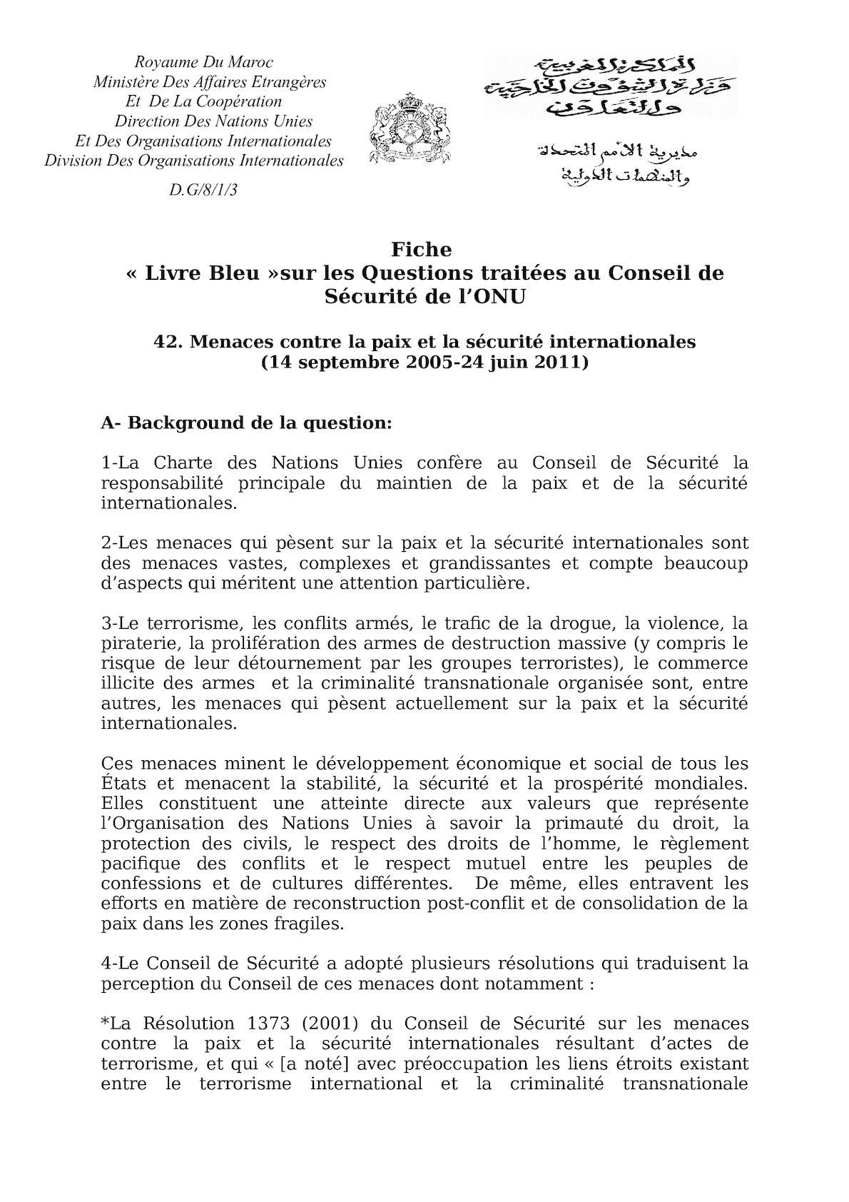 Menaces à La Paix Et La Sécurité Internationales(1).