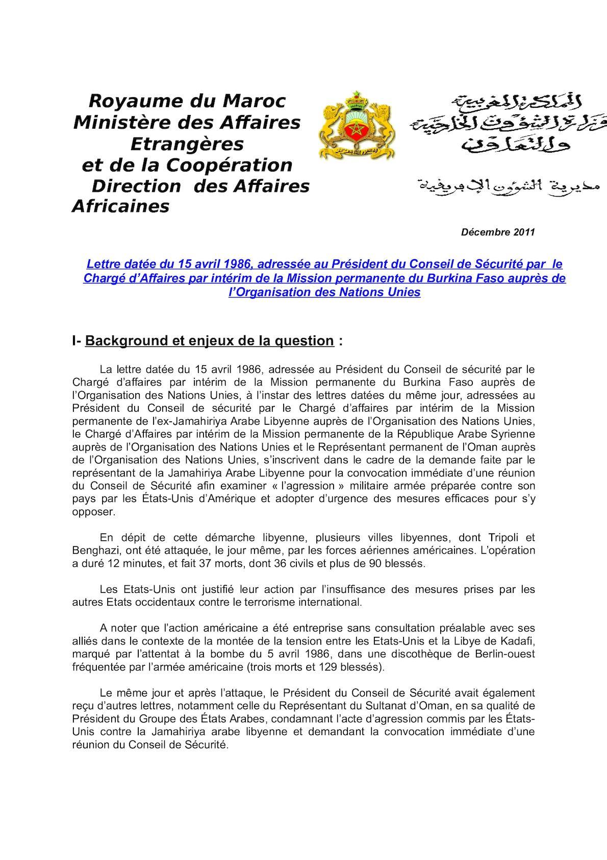Lettre Conseil De Sécurité, Burkina Faso