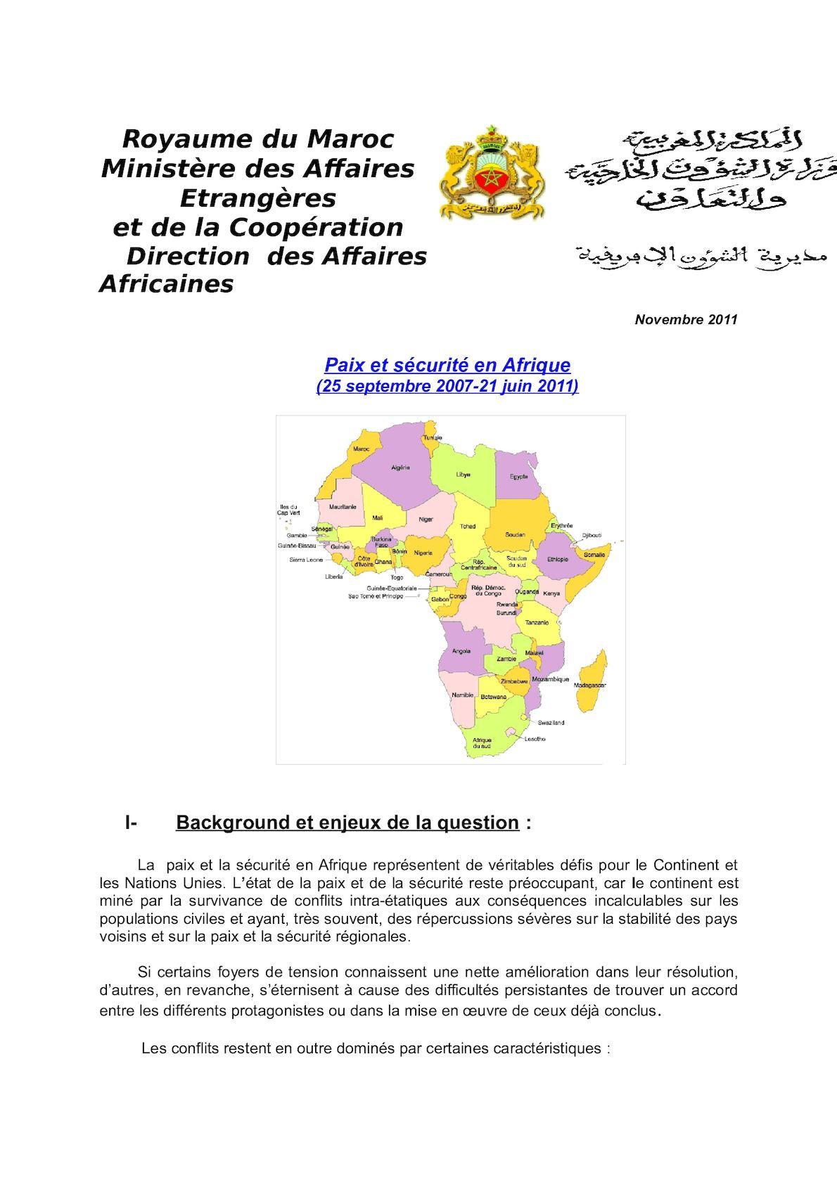 Paix Et Sécurité En Afrique(1).