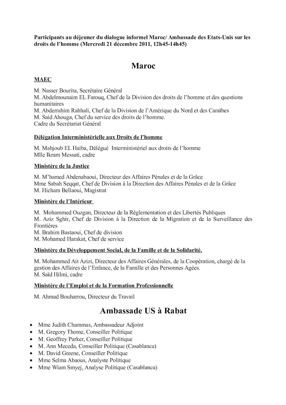 Participants Au Déjeuner Du Dialogue Informel Maroc 1