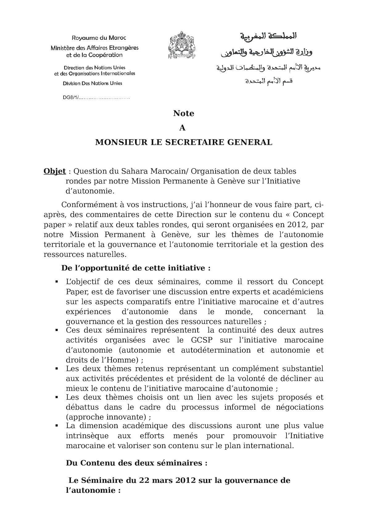 Question Nationale - SEMINAIRES 2012 -Concept Paper