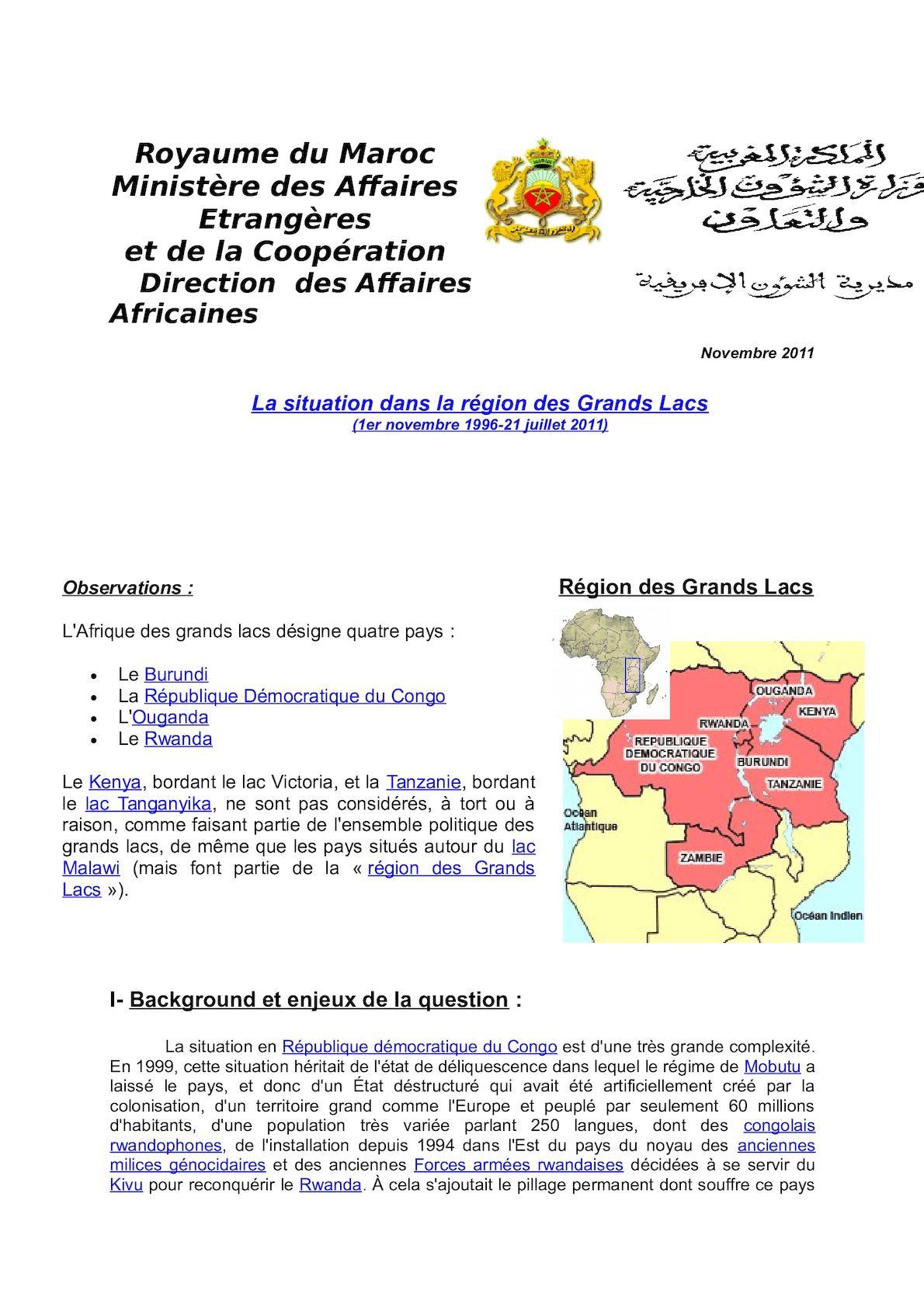 Situation Grands Lacs