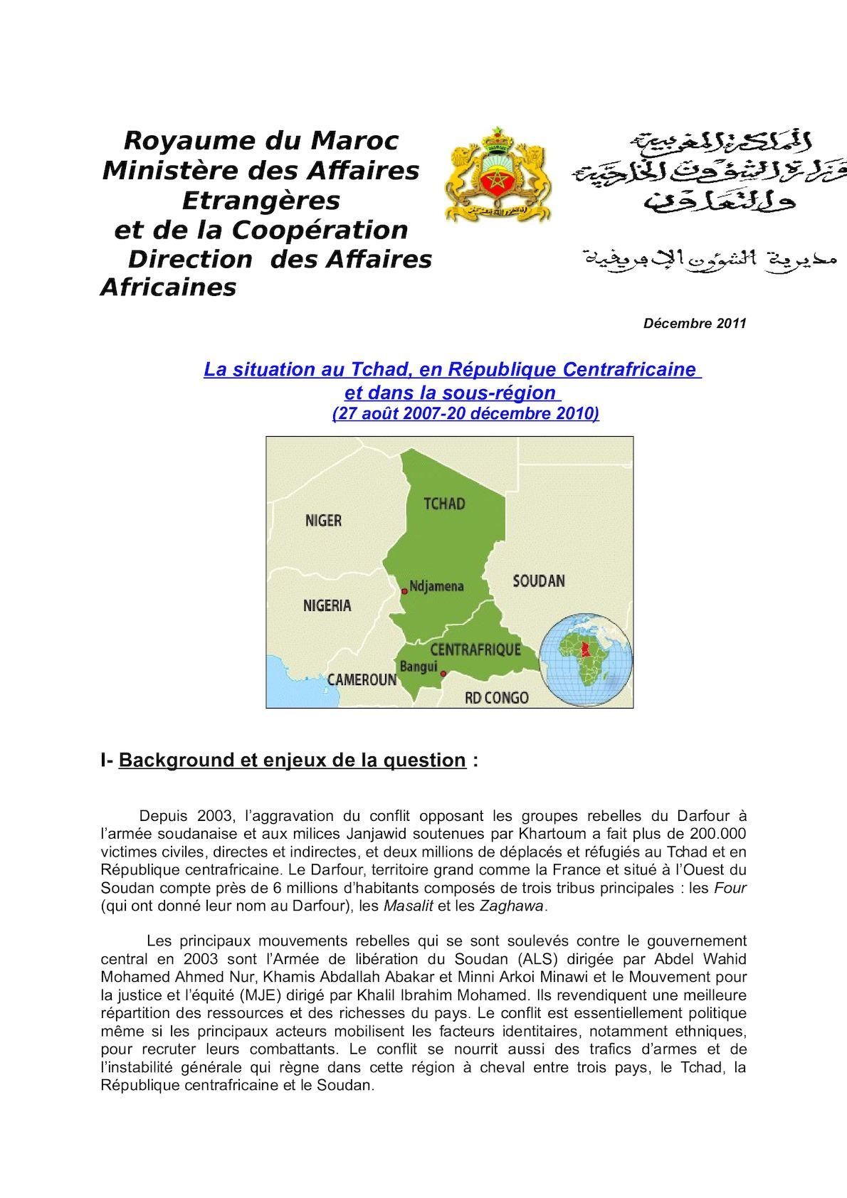 Situation Au Tchad, Centrafrique Et Sous Région